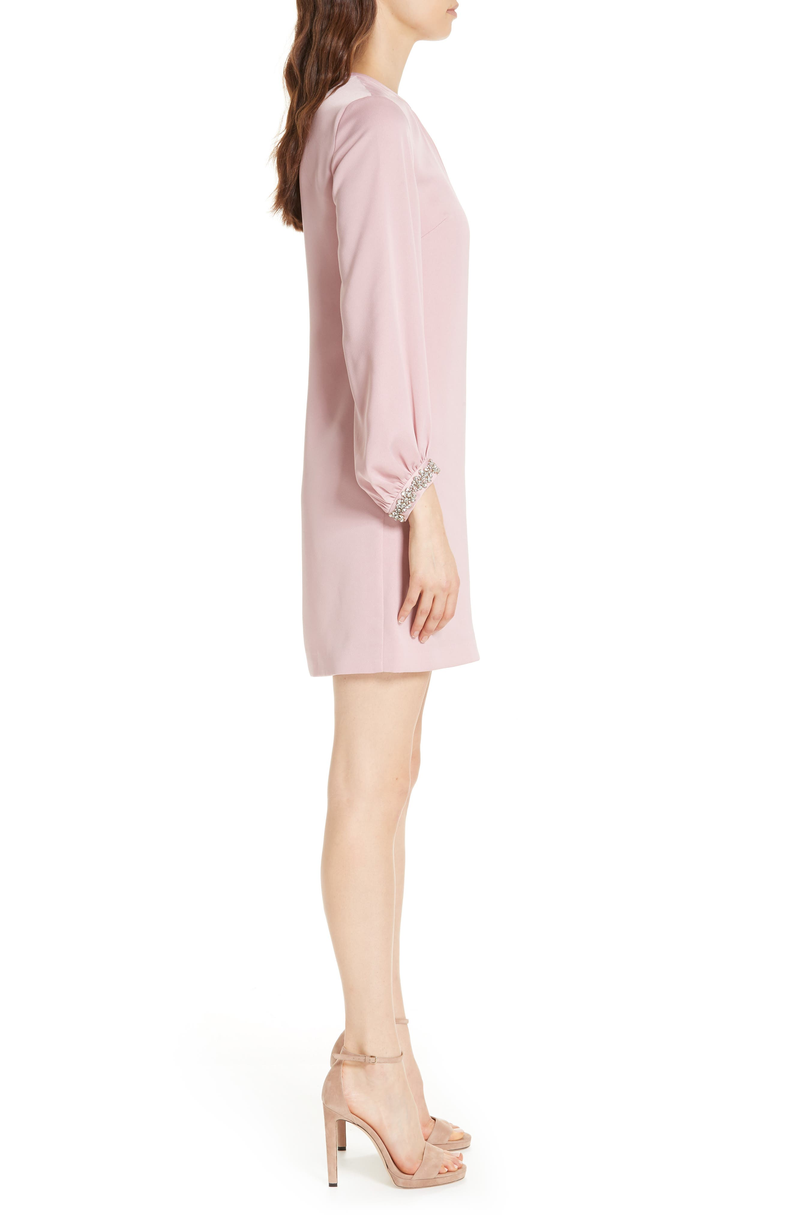 Joele Embellished Cuff Shift Dress,                             Alternate thumbnail 3, color,                             DUSKY PINK