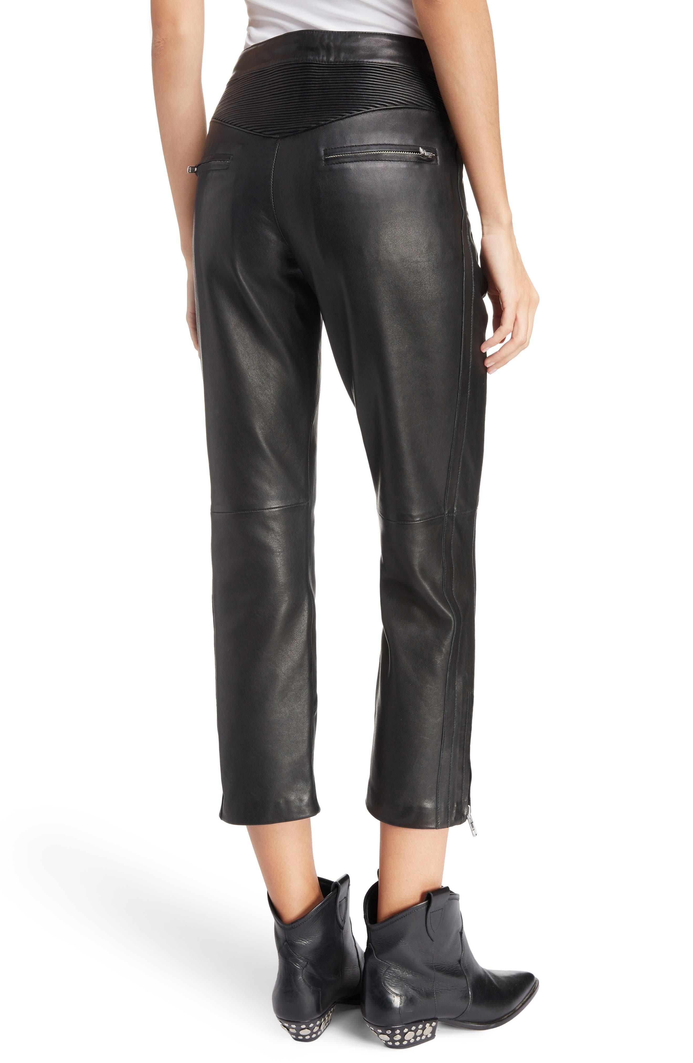 Isabel Marant Étoile Aya Leather Pants,                             Alternate thumbnail 2, color,                             BLACK