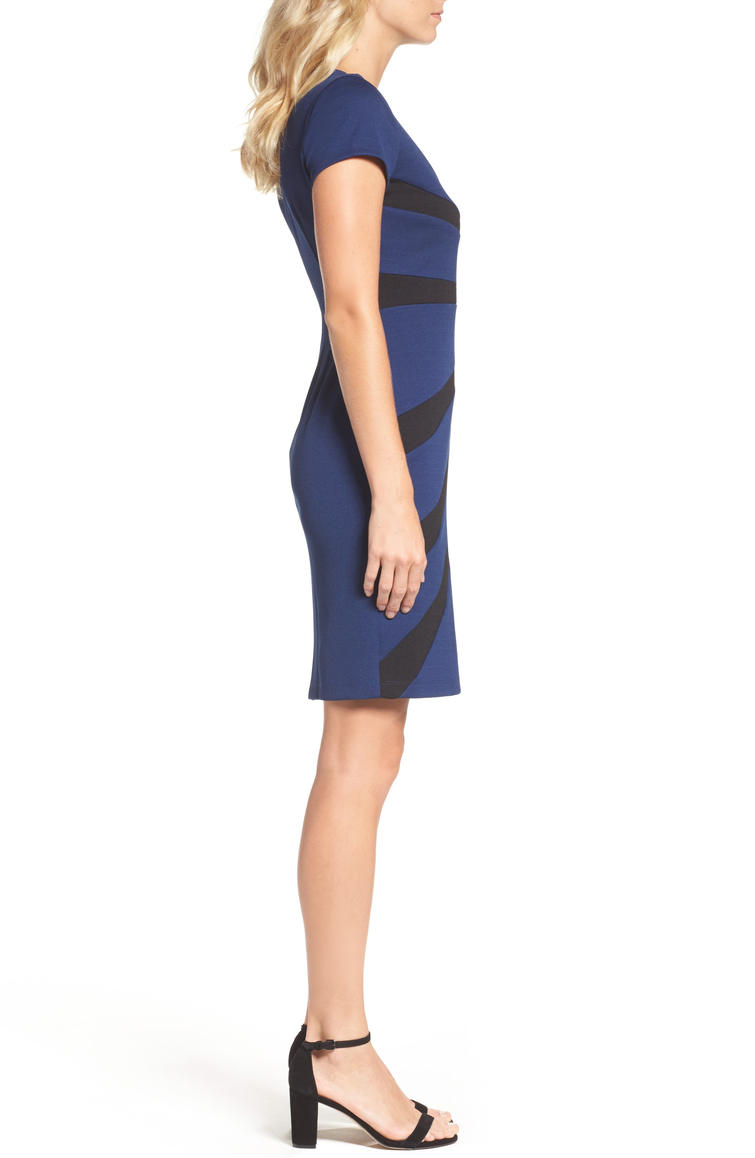 Stripe Sheath Dress,                             Alternate thumbnail 3, color,                             412