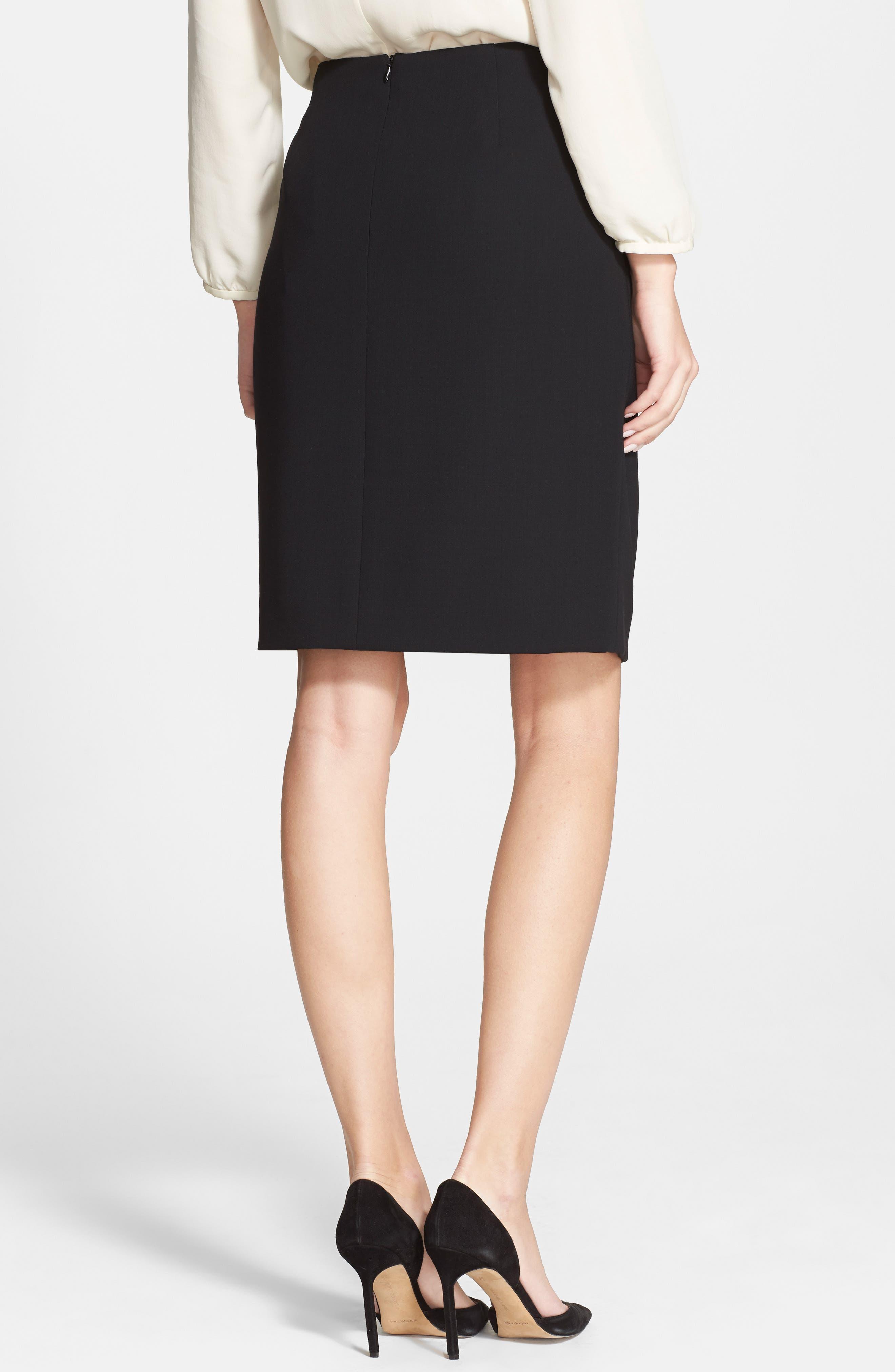 Double Face Pencil Skirt,                             Alternate thumbnail 2, color,                             BLACK