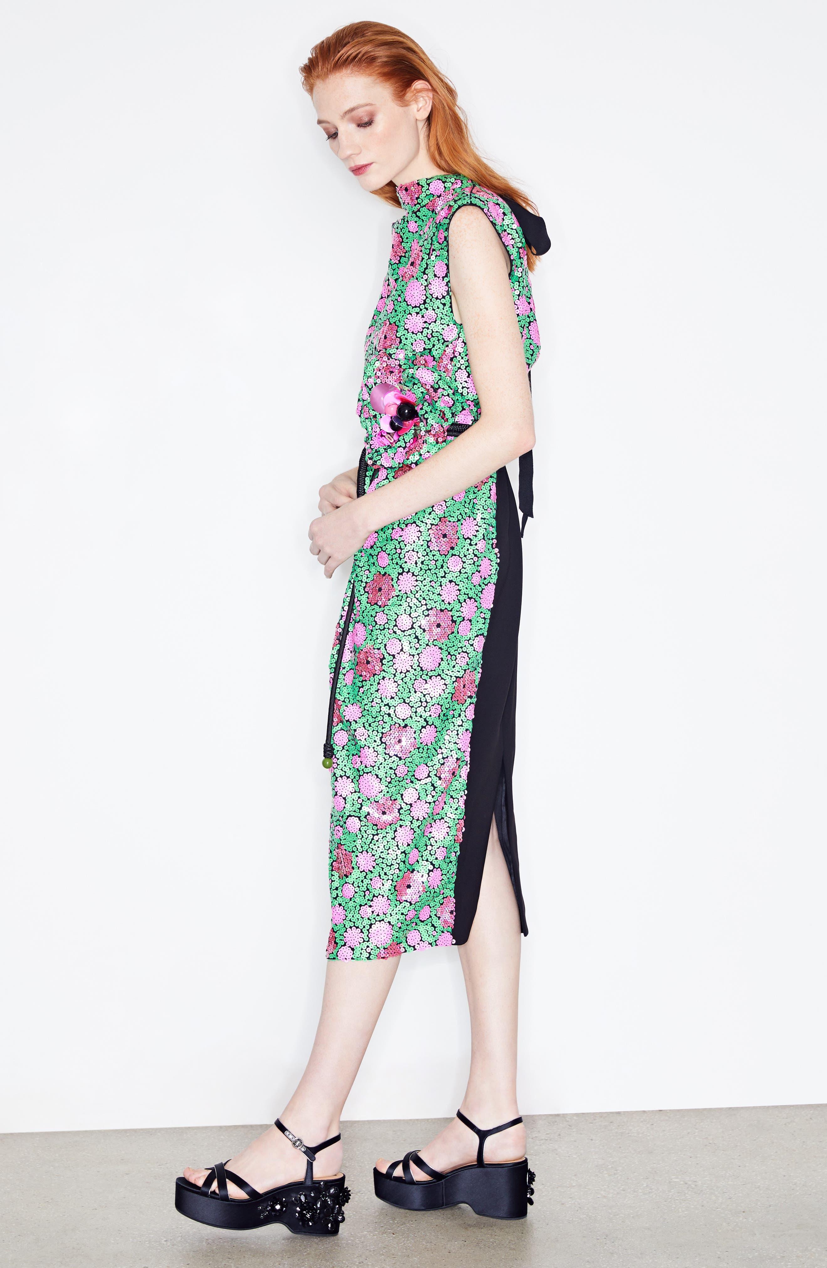 Floral Sequin Midi dress,                             Alternate thumbnail 7, color,                             300