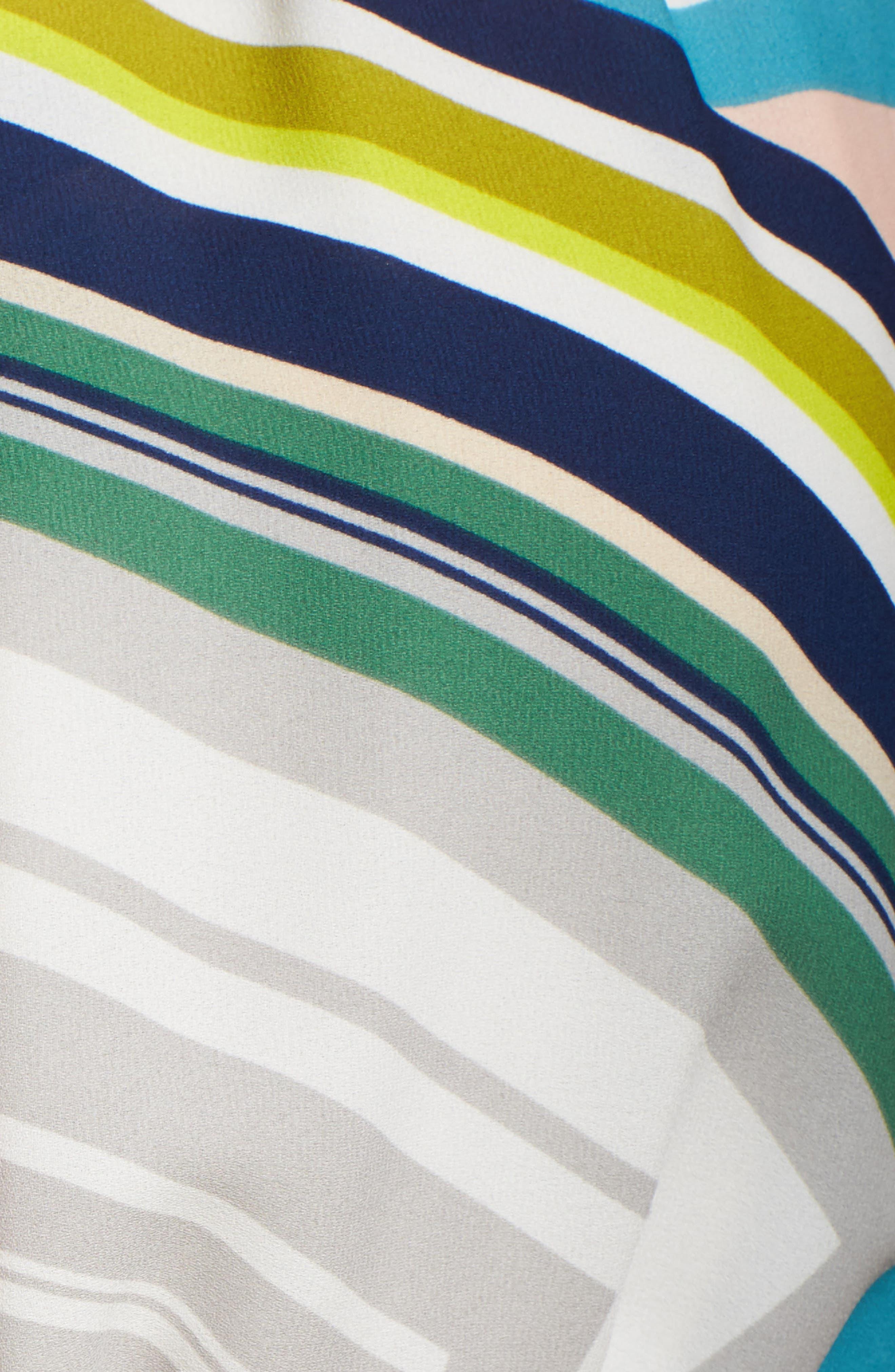 Stripe Maze Pleated Maxi Dress,                             Alternate thumbnail 5, color,                             196