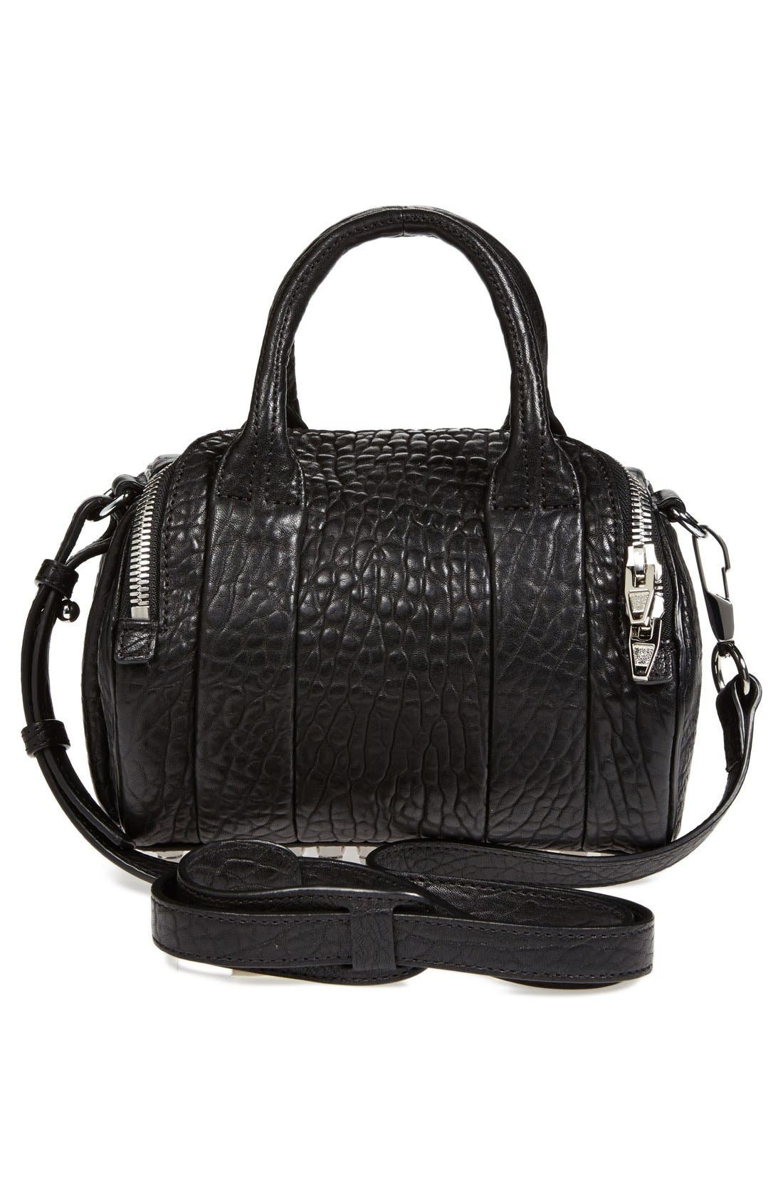 'Mini Rockie - Nickel' Leather Crossbody Satchel,                             Alternate thumbnail 2, color,                             001