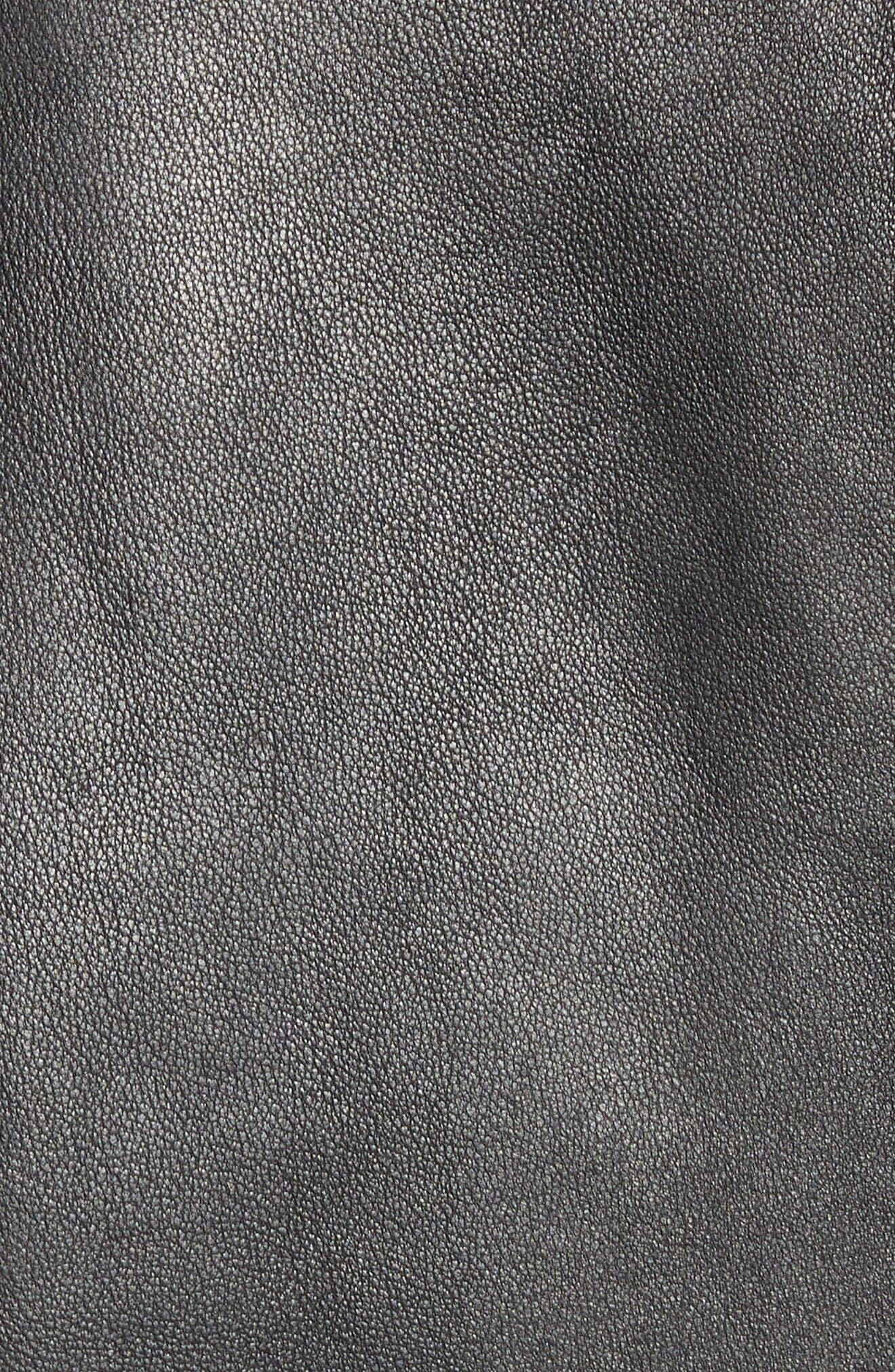 Leather Jacket,                             Alternate thumbnail 7, color,                             BLACK