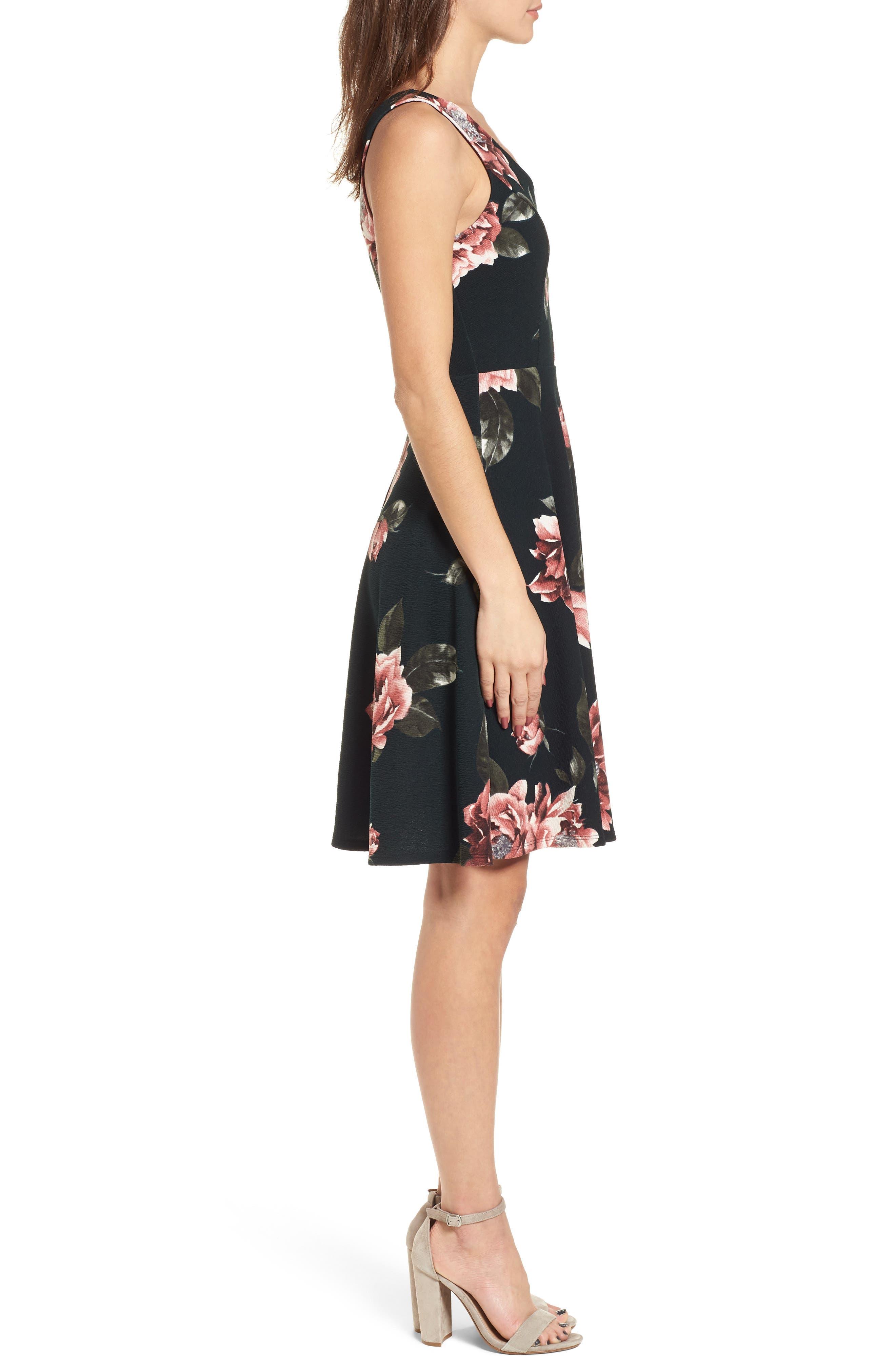 Floral Print Fit & Flare Dress,                             Alternate thumbnail 3, color,