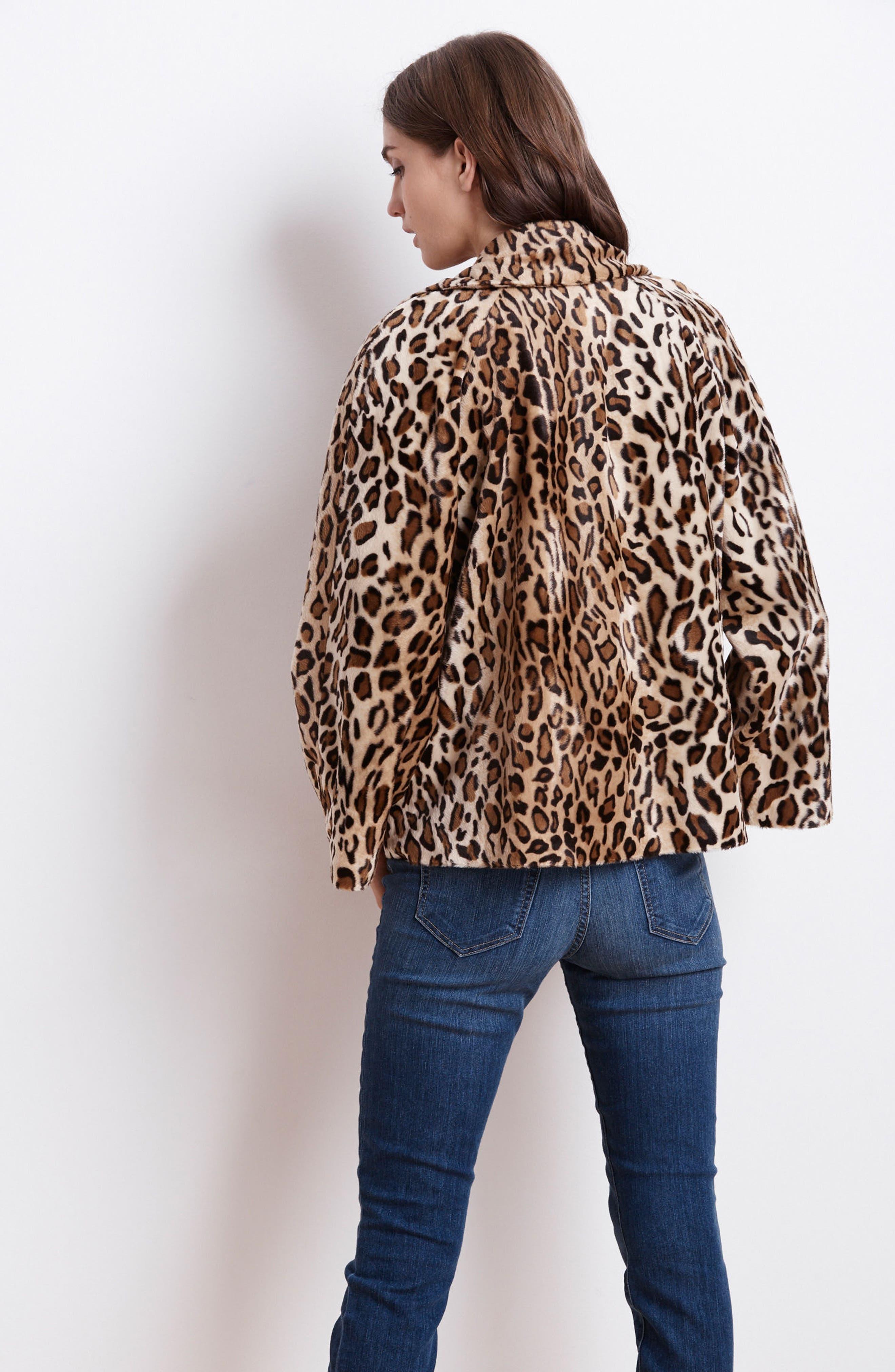 Faux Fur Leopard Jacket,                             Alternate thumbnail 7, color,