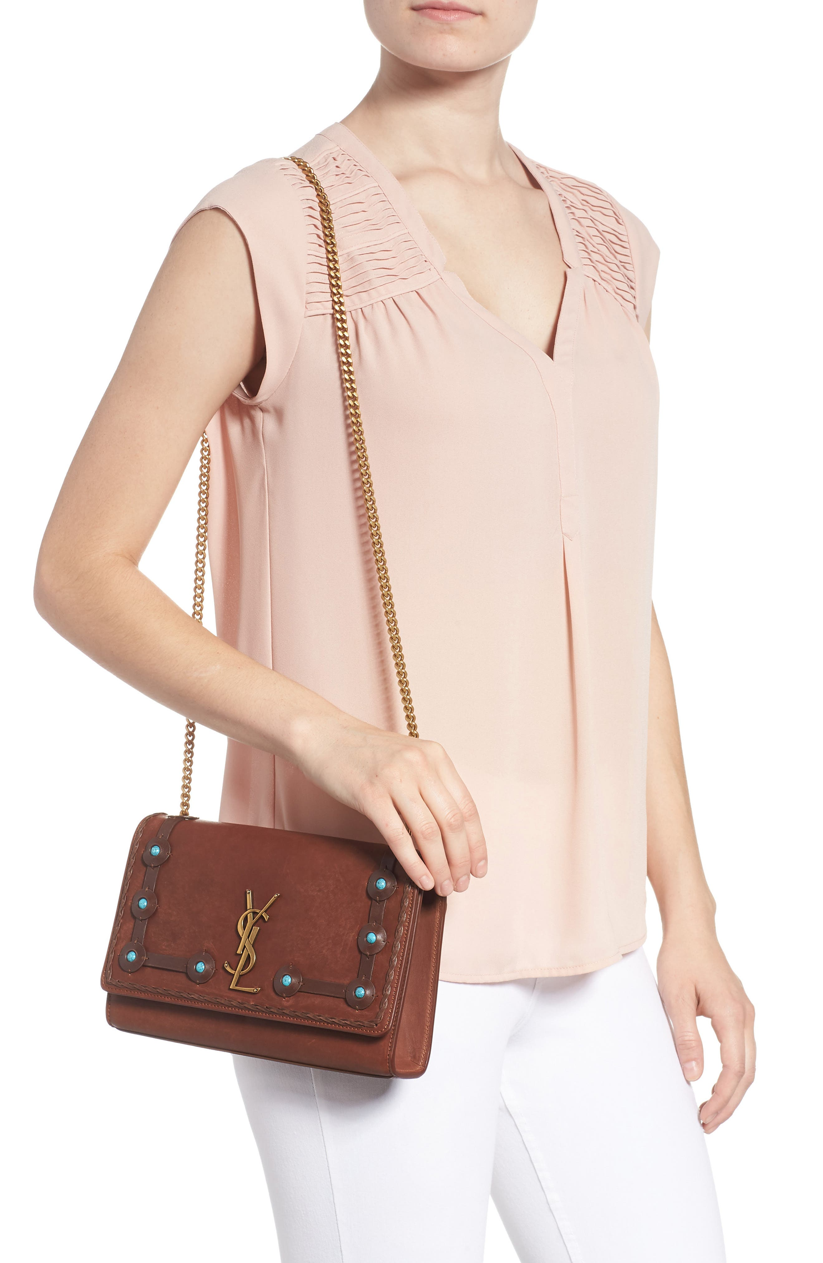 Medium Kate Studded Leather Crossbody Bag,                             Alternate thumbnail 2, color,                             BROWN MULTI