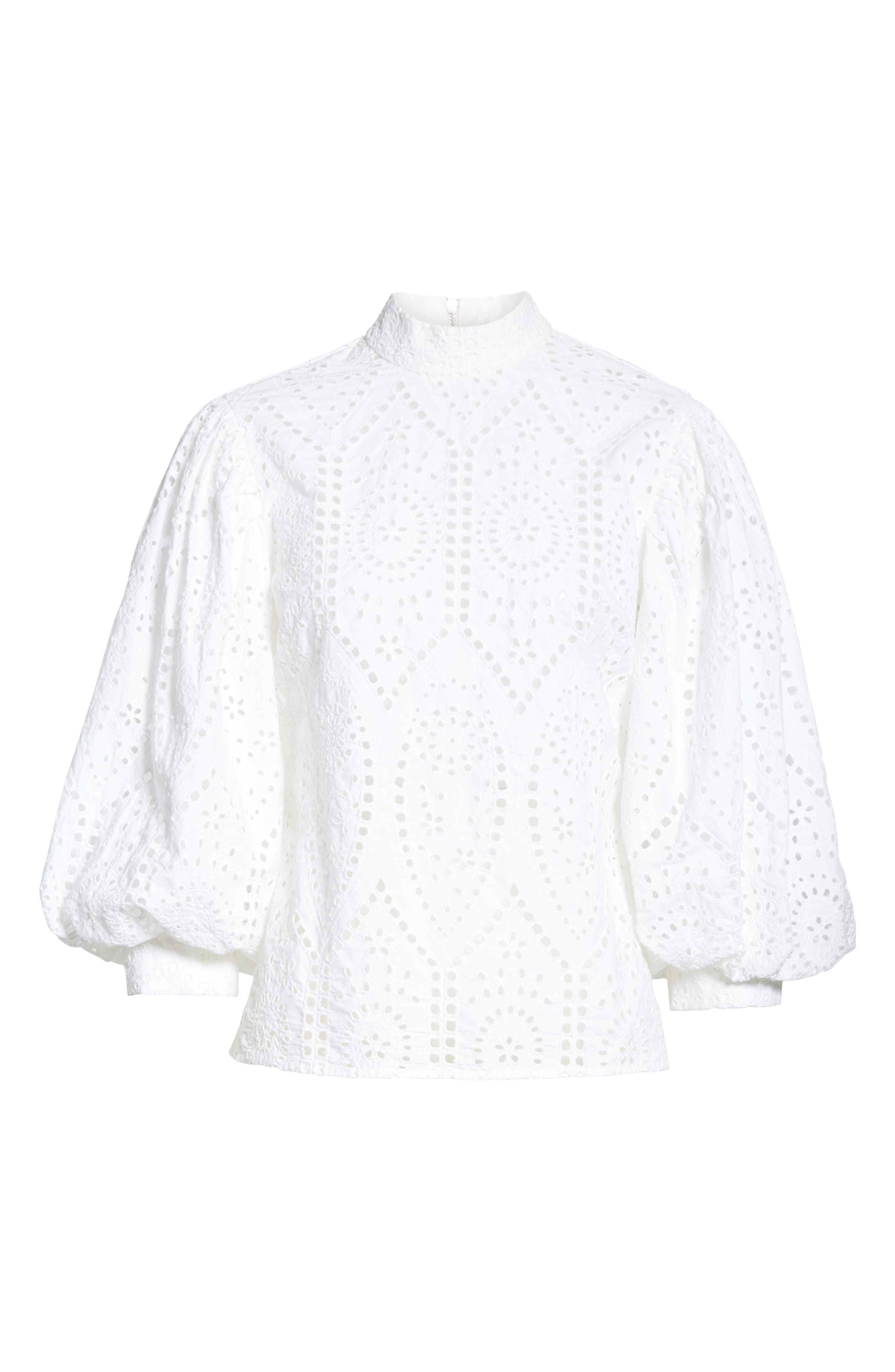 Broderie Anglaise Shirt,                             Alternate thumbnail 6, color,                             BRIGHT WHITE 151