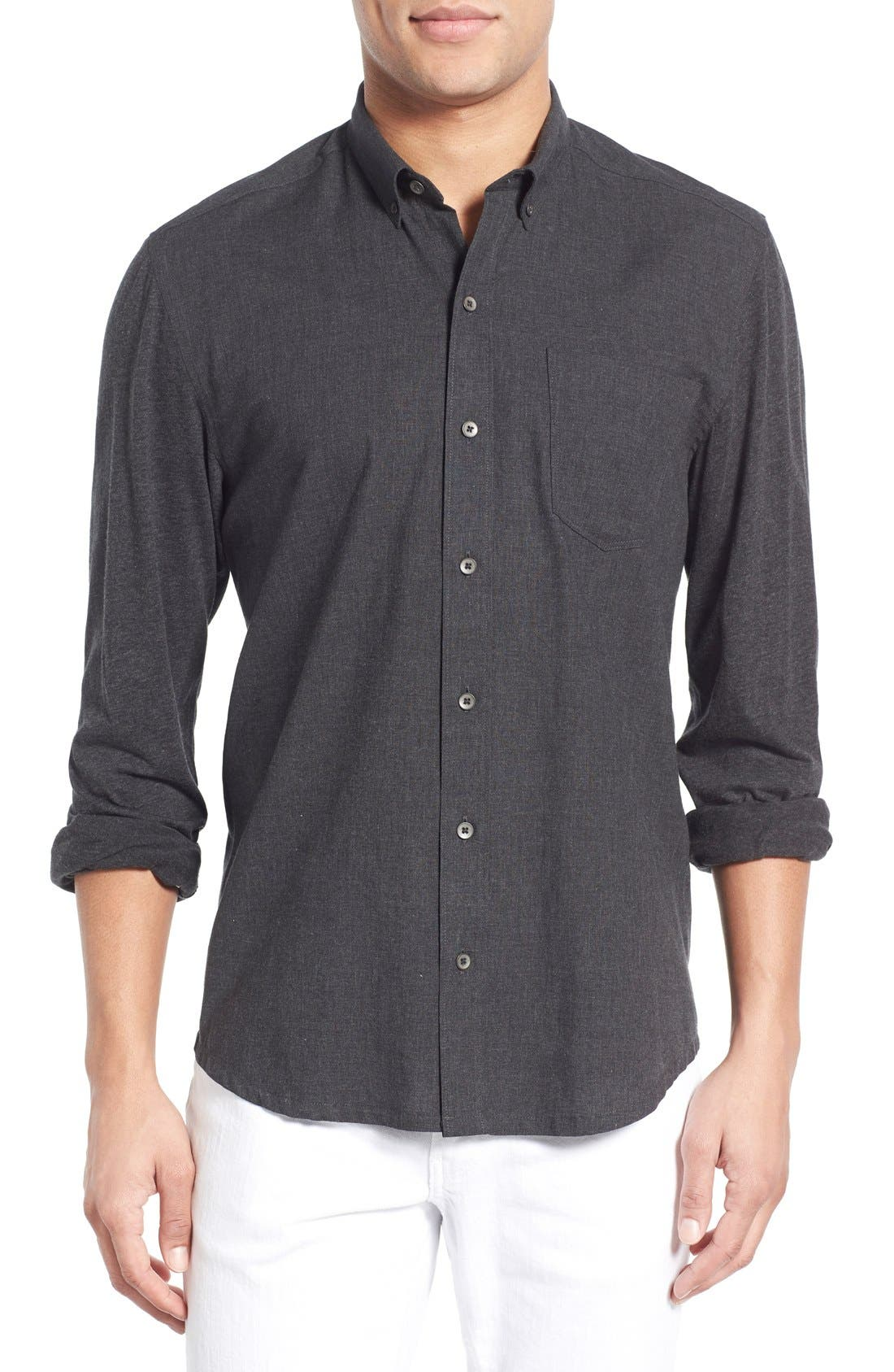 'Reworked' Trim Fit Sport Shirt,                             Main thumbnail 1, color,                             010