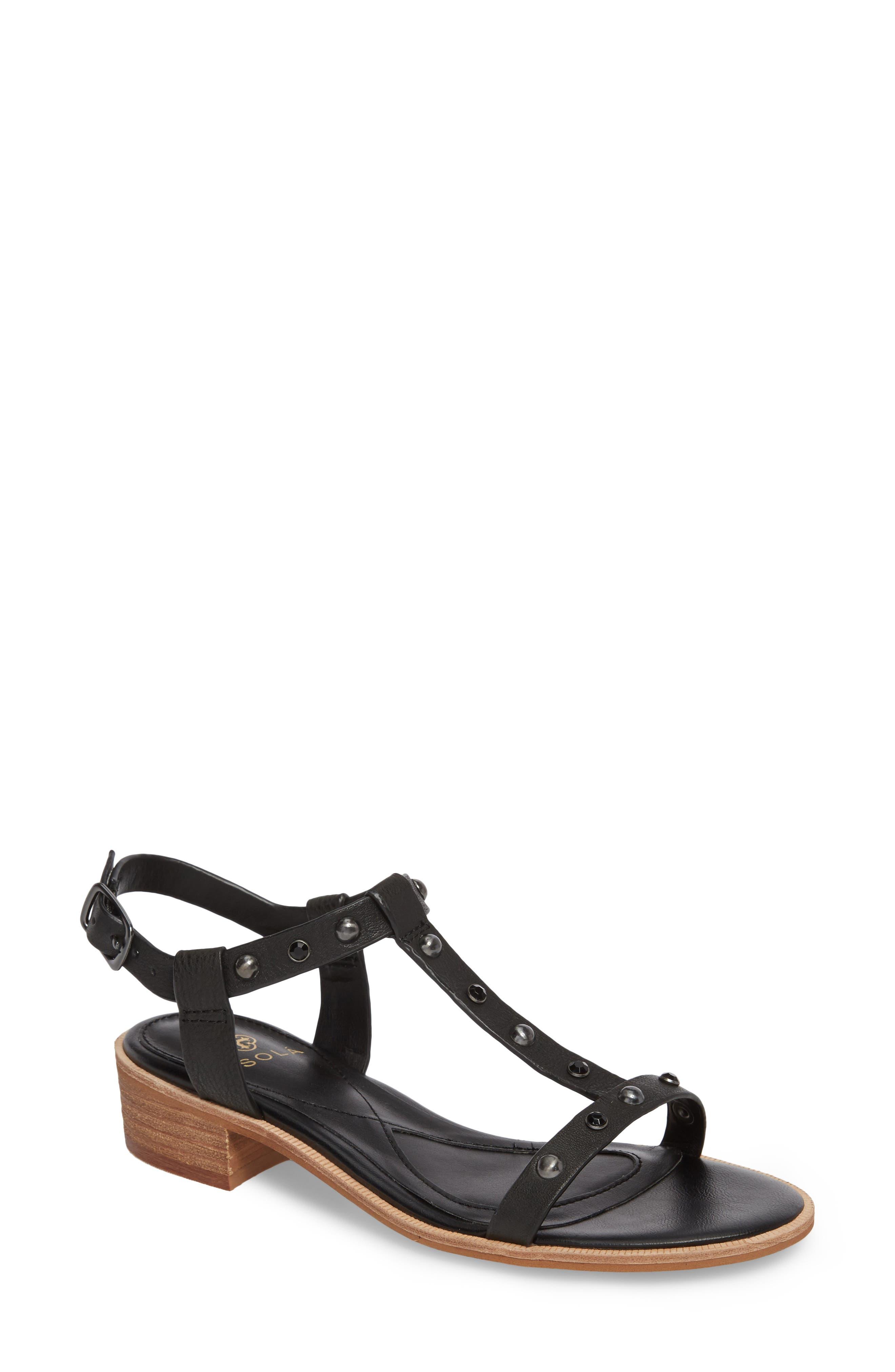 Giana Studded Sandal,                         Main,                         color, BLACK LEATHER