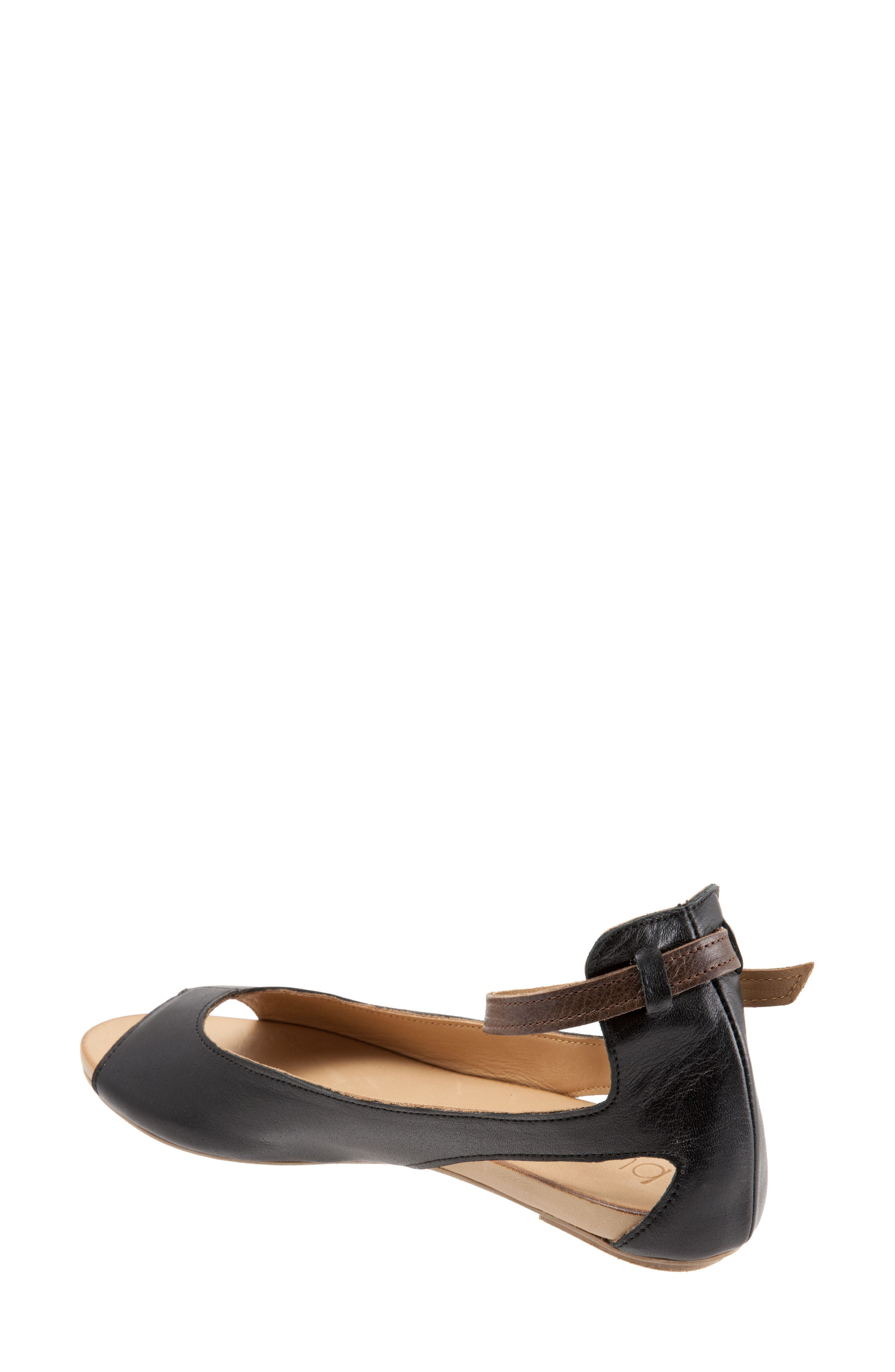 Donna Ankle Strap Sandal,                             Alternate thumbnail 2, color,                             BLACK LEATHER