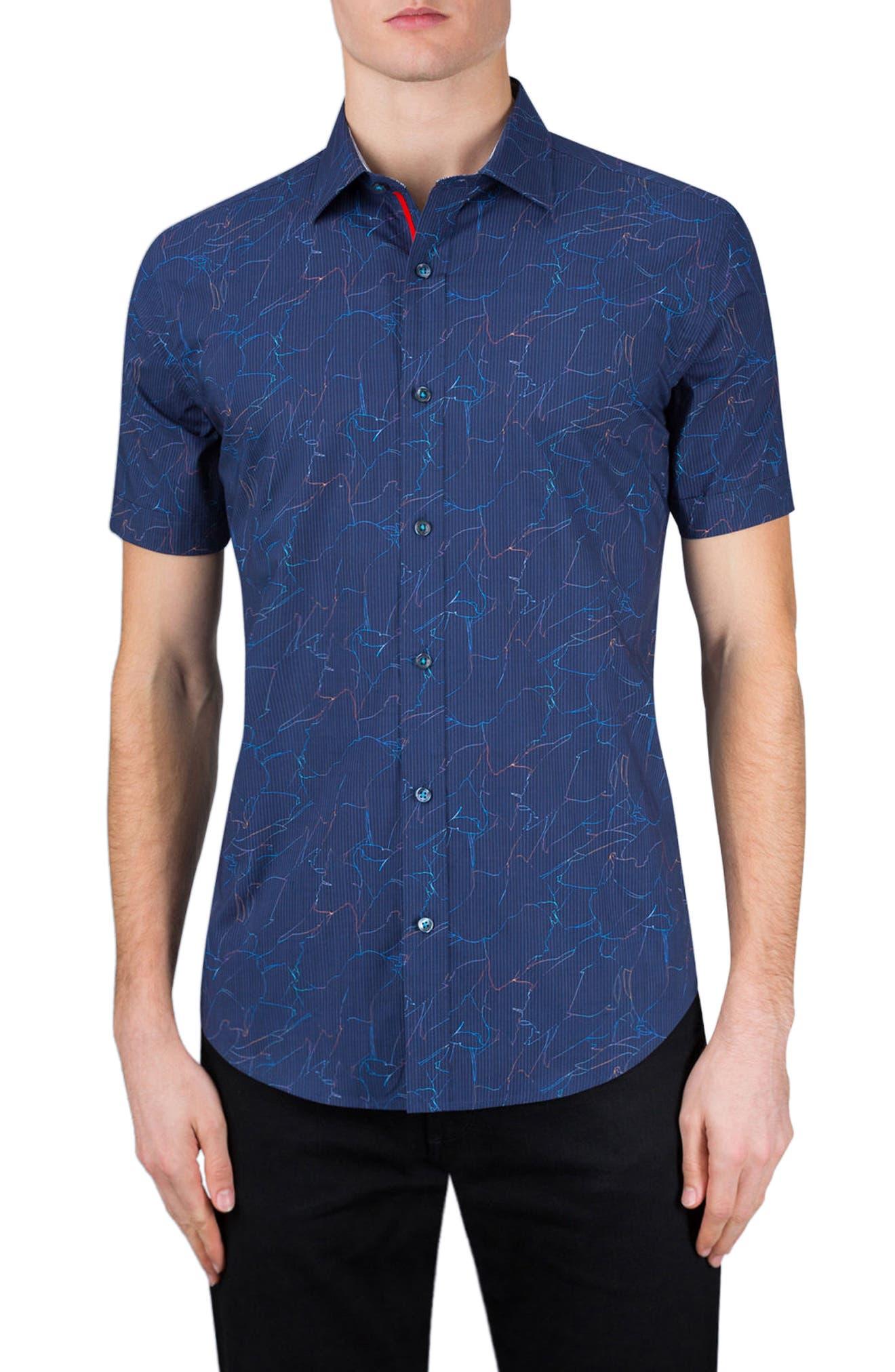 Classic Fit Crackle Stripe Sport Shirt,                         Main,                         color, 410