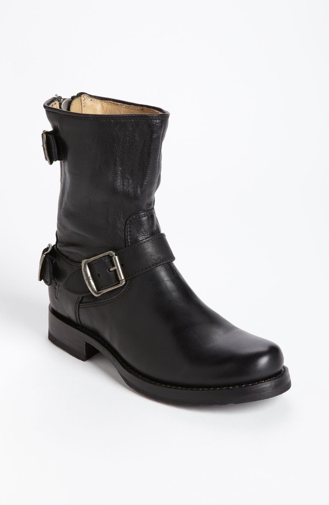 'Veronica' Back Zip Short Boot,                             Main thumbnail 1, color,                             001