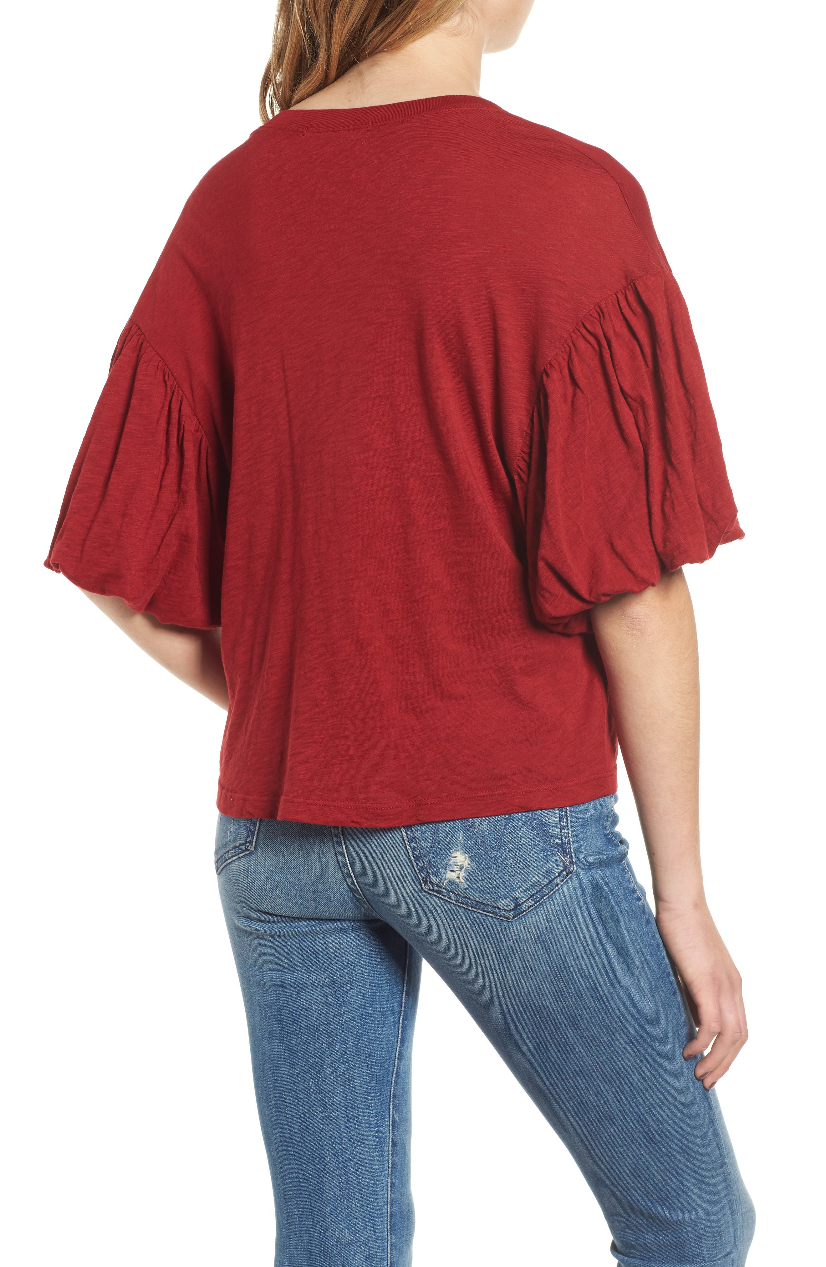 Ruffle Sleeve Slub Tee,                             Alternate thumbnail 2, color,                             DEEP RED
