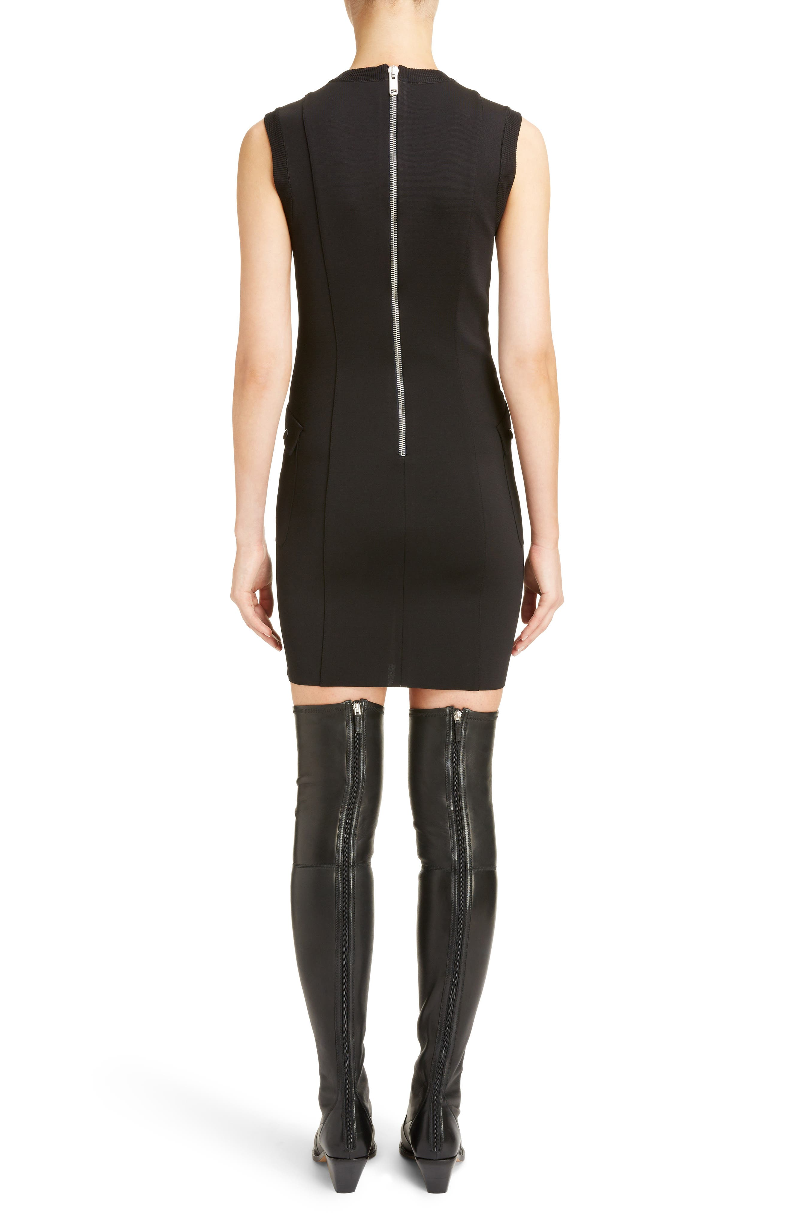 Two-Tone Punto Milano Dress,                             Alternate thumbnail 2, color,                             BLACK/ WHITE