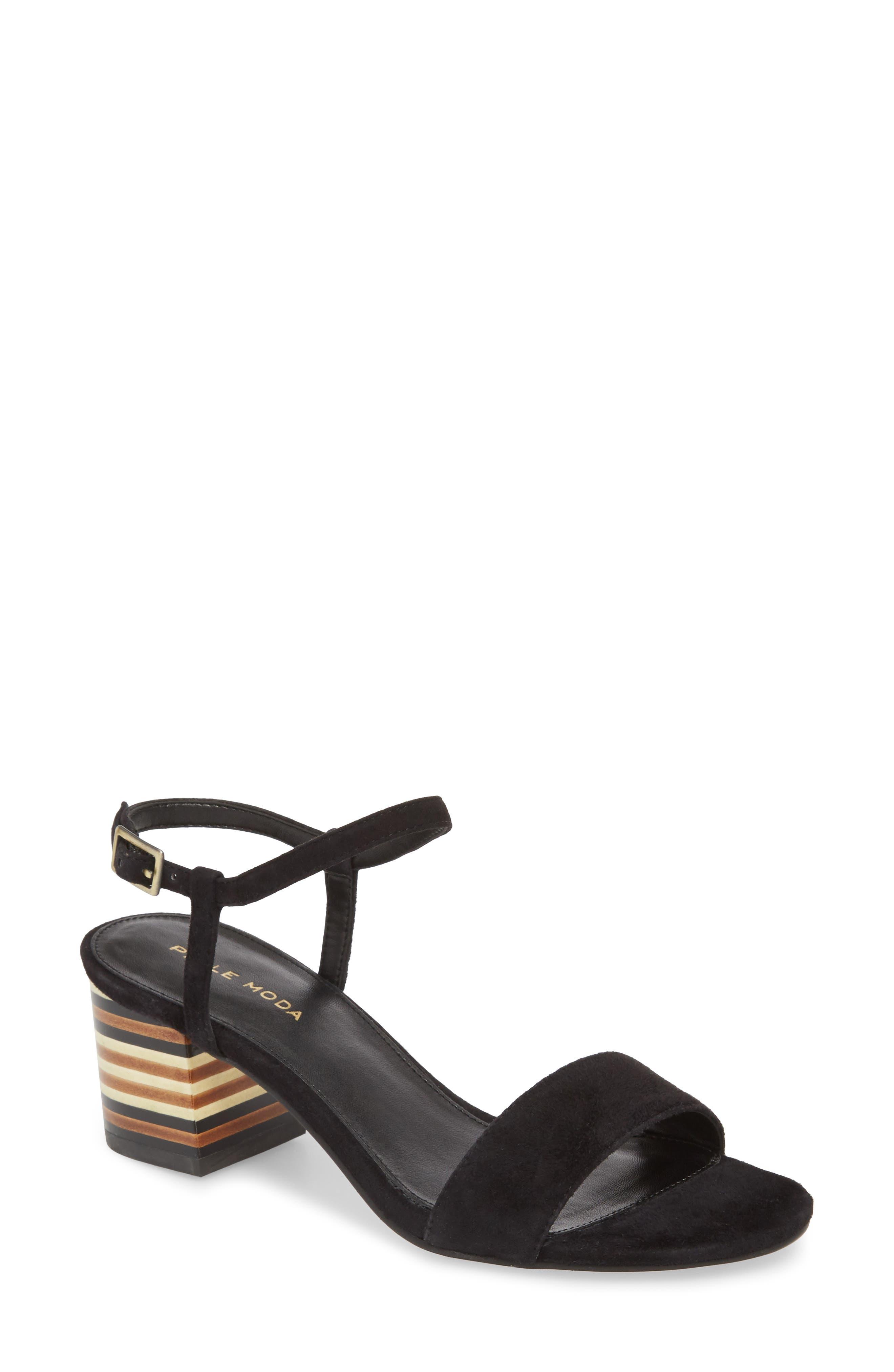 Alicia Block Heel Sandal,                         Main,                         color, BLACK SUEDE