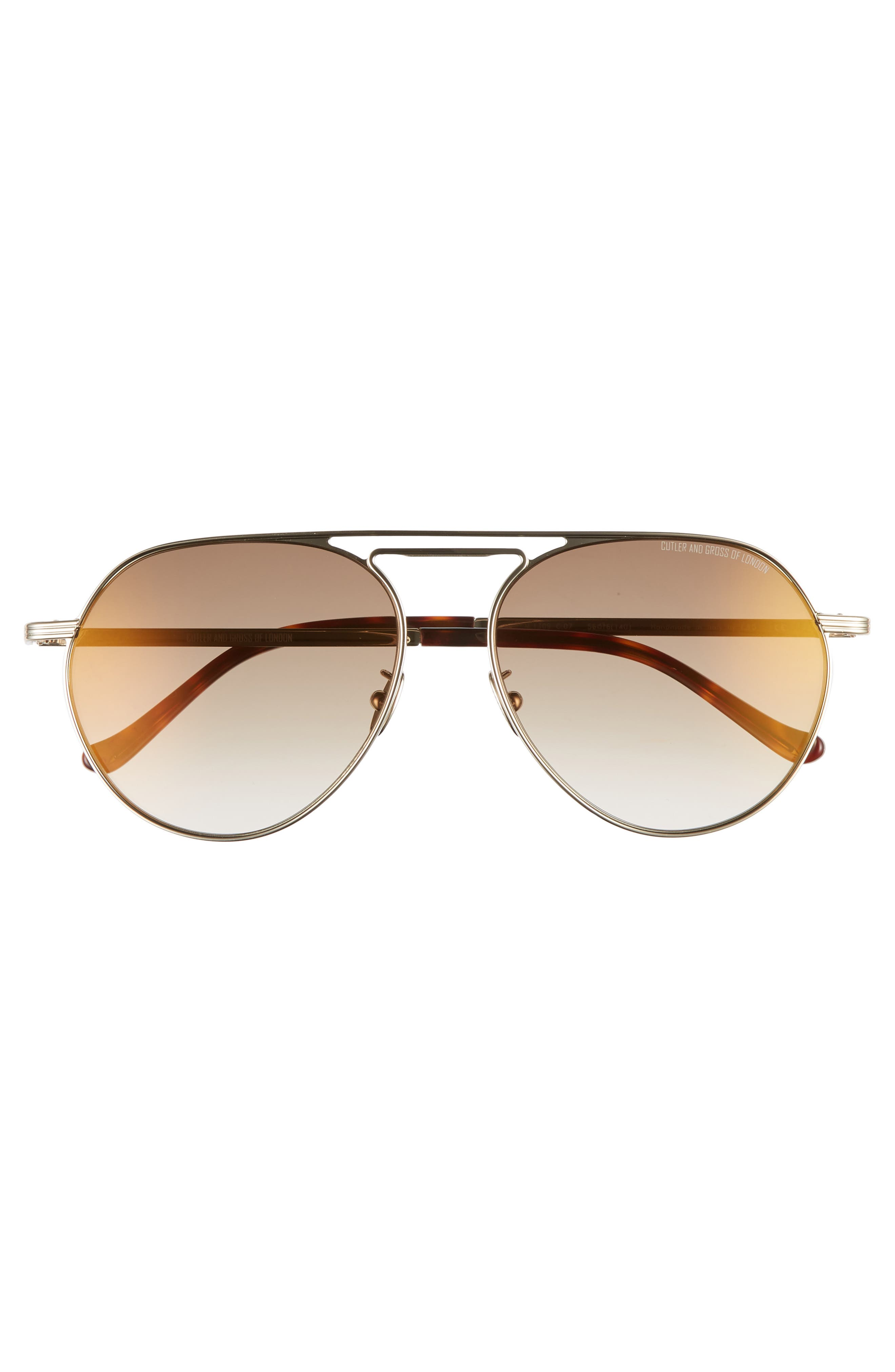 56mm Polarized Aviator Sunglasses,                             Alternate thumbnail 2, color,                             BROWN GOLD/ BROWN