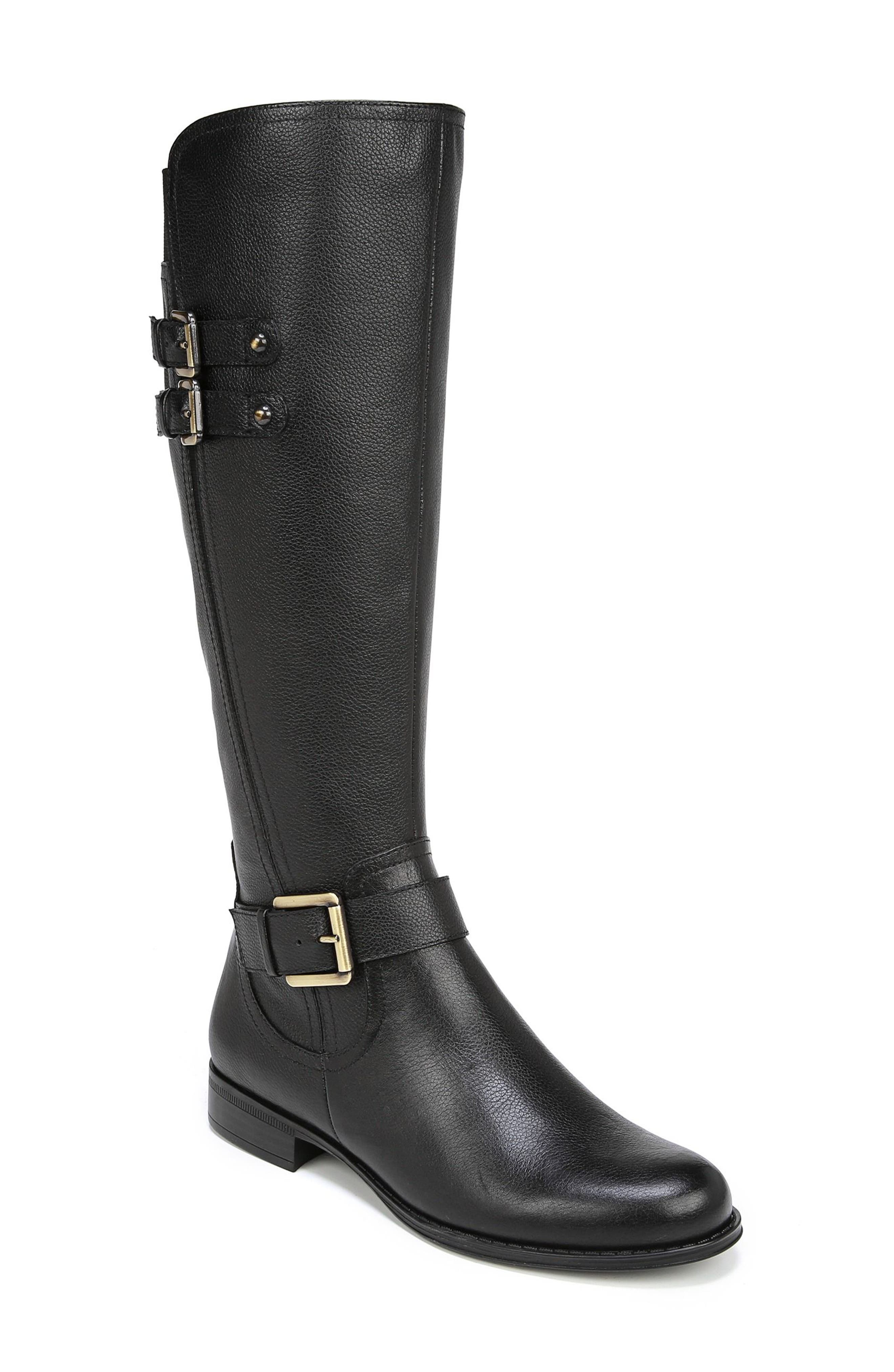 Jessie Knee High Riding Boot,                             Main thumbnail 1, color,                             BLACK LEATHER