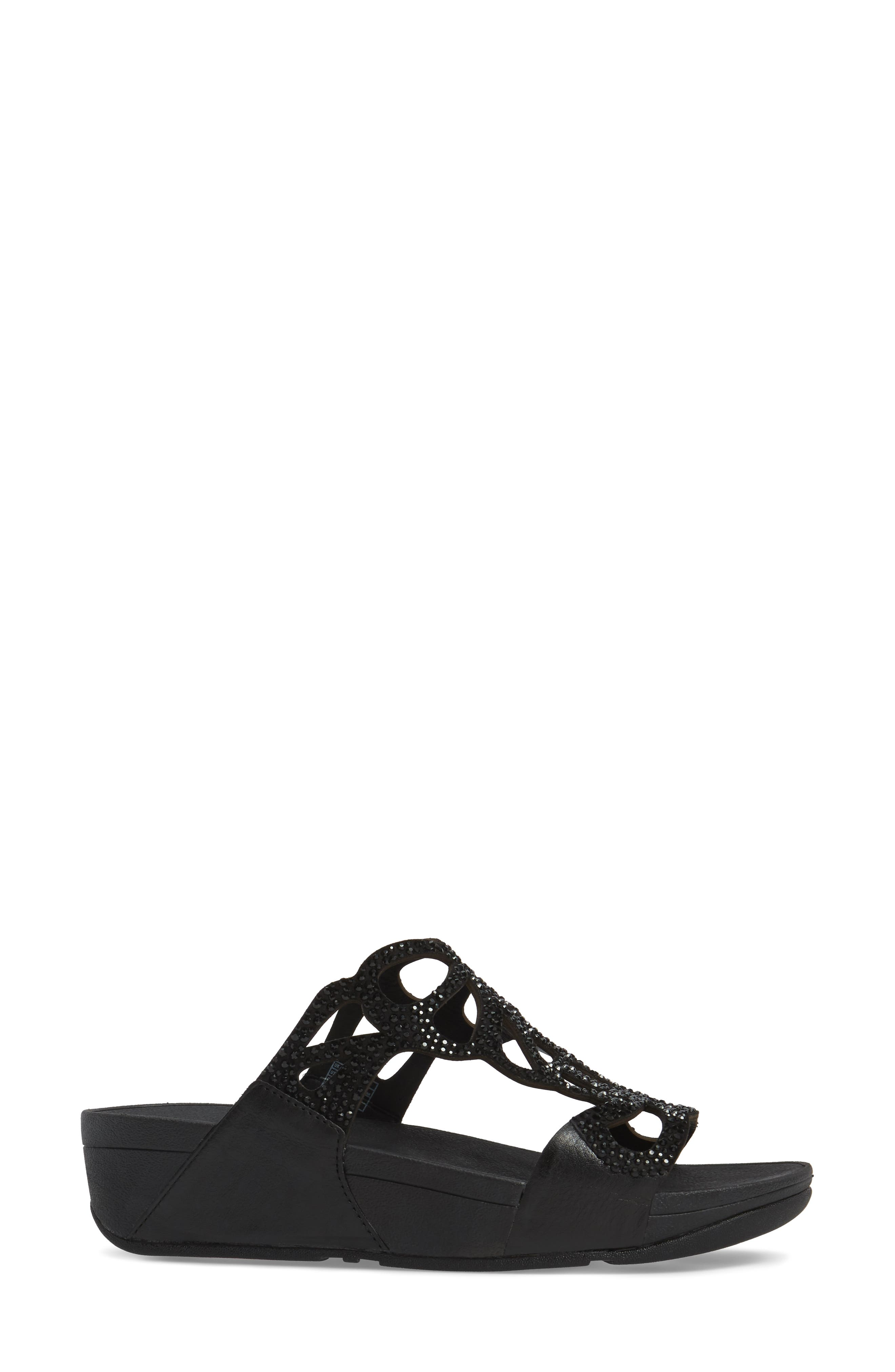 Bumble Wedge Slide Sandal,                             Alternate thumbnail 3, color,                             BLACK LEATHER