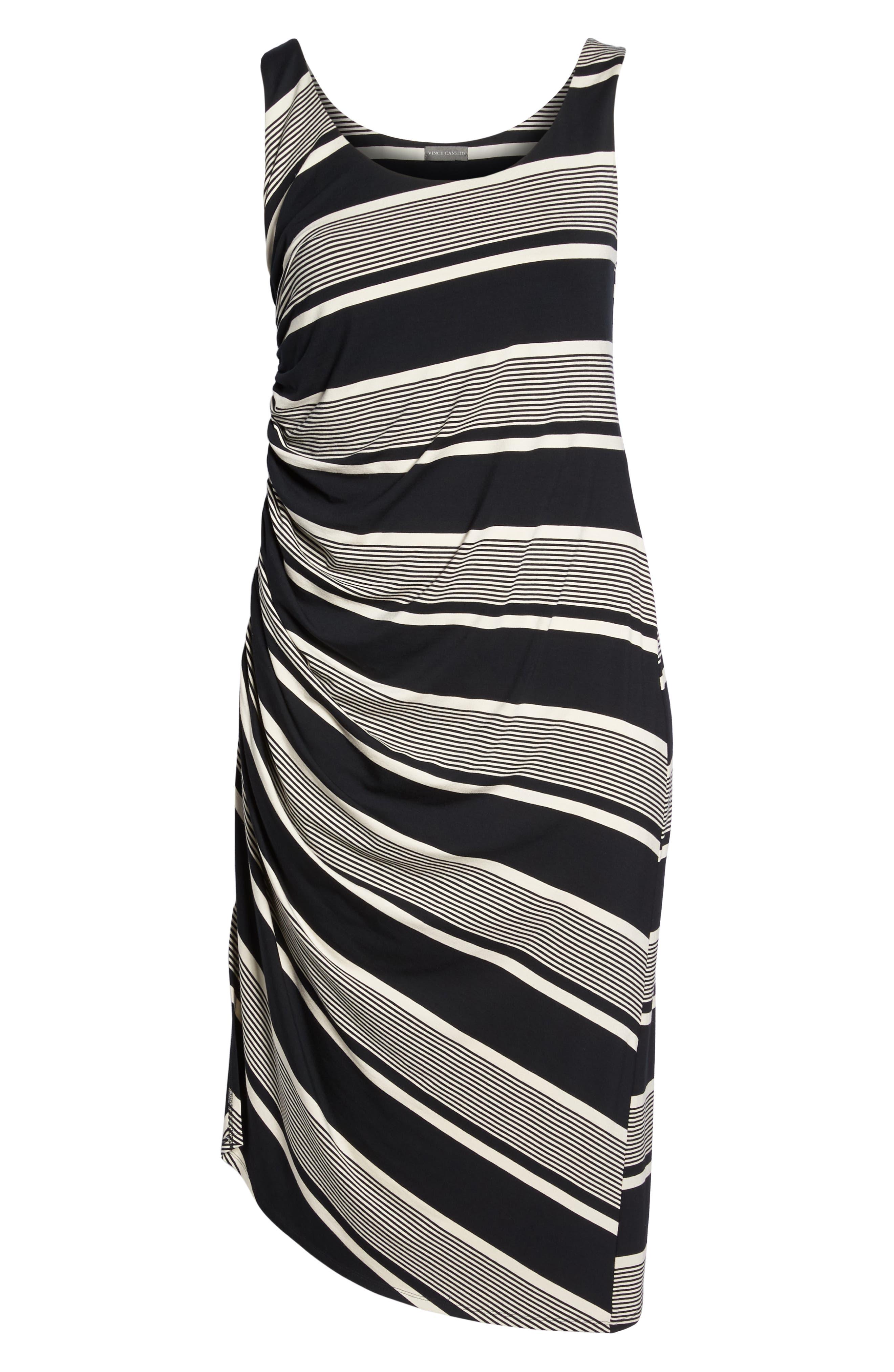 Venue Block Stripe Ruched Body-Con Dress,                             Alternate thumbnail 7, color,                             RICH BLACK