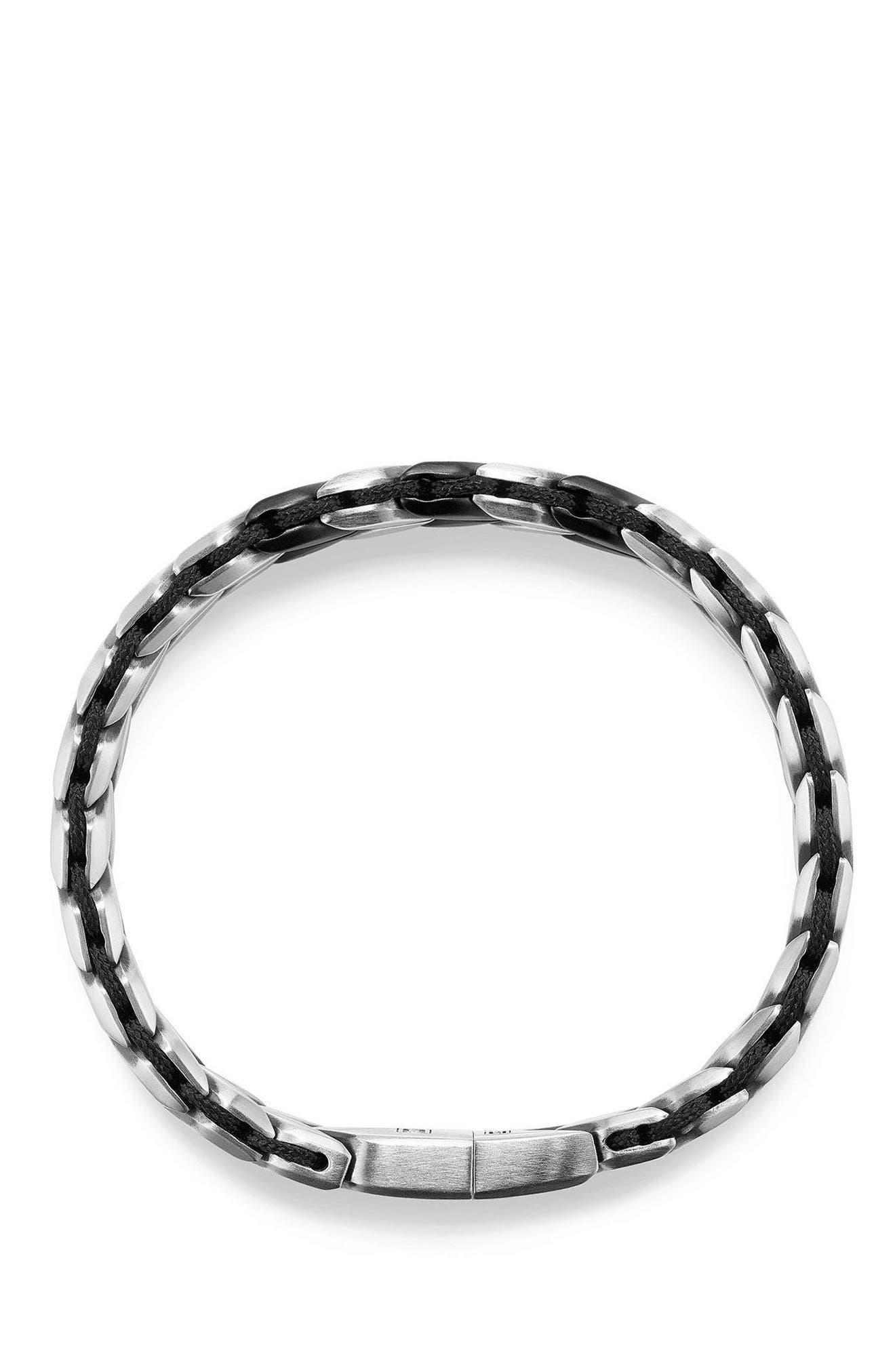 Chevron Woven Bracelet,                             Alternate thumbnail 3, color,                             SILVER/ BLACK TITANIUM