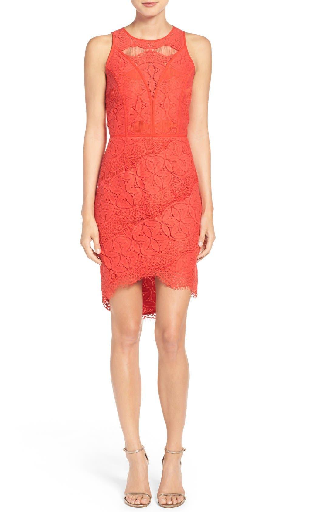 Lace High/Low Sheath Dress,                             Alternate thumbnail 16, color,