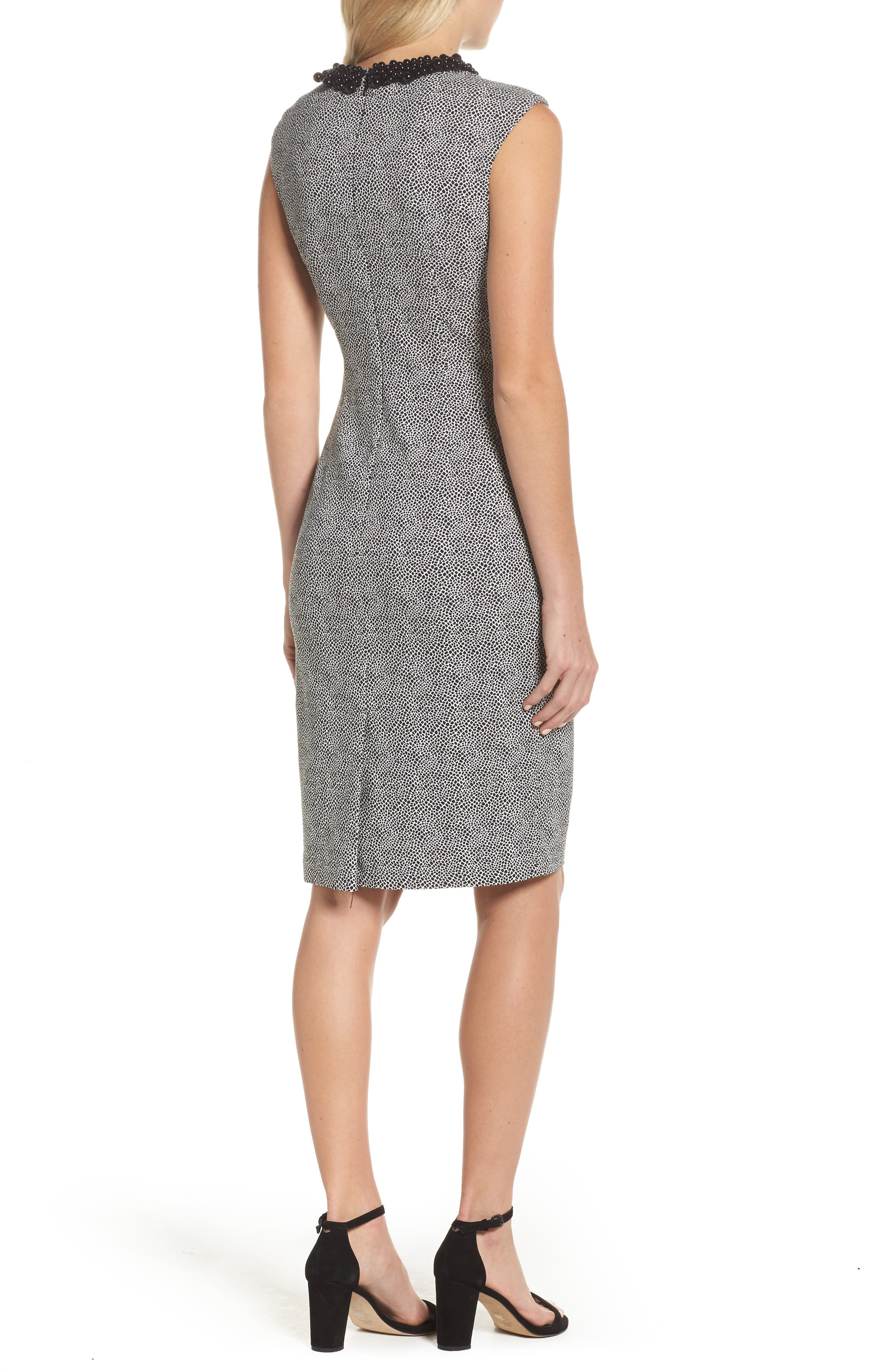 Embellished Jacquard Sheath Dress,                             Alternate thumbnail 2, color,                             001