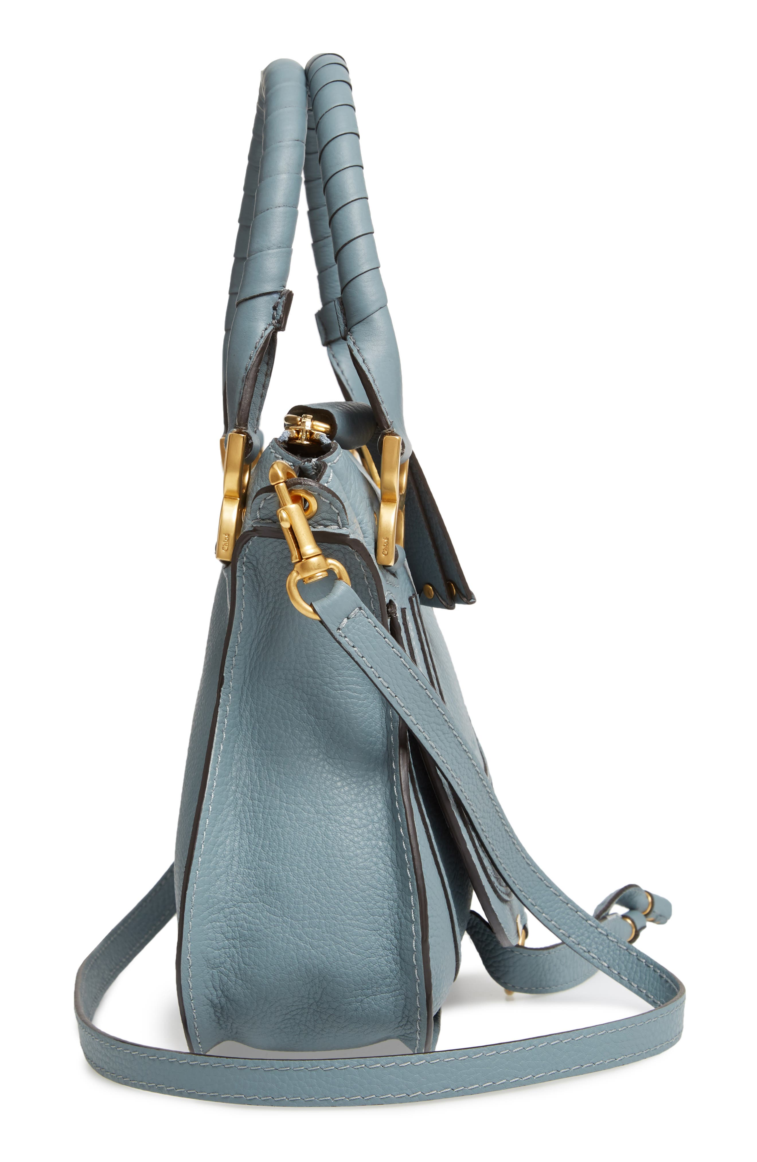 Small Marcie Calfskin Leather Satchel,                             Alternate thumbnail 5, color,                             CLOUDY BLUE