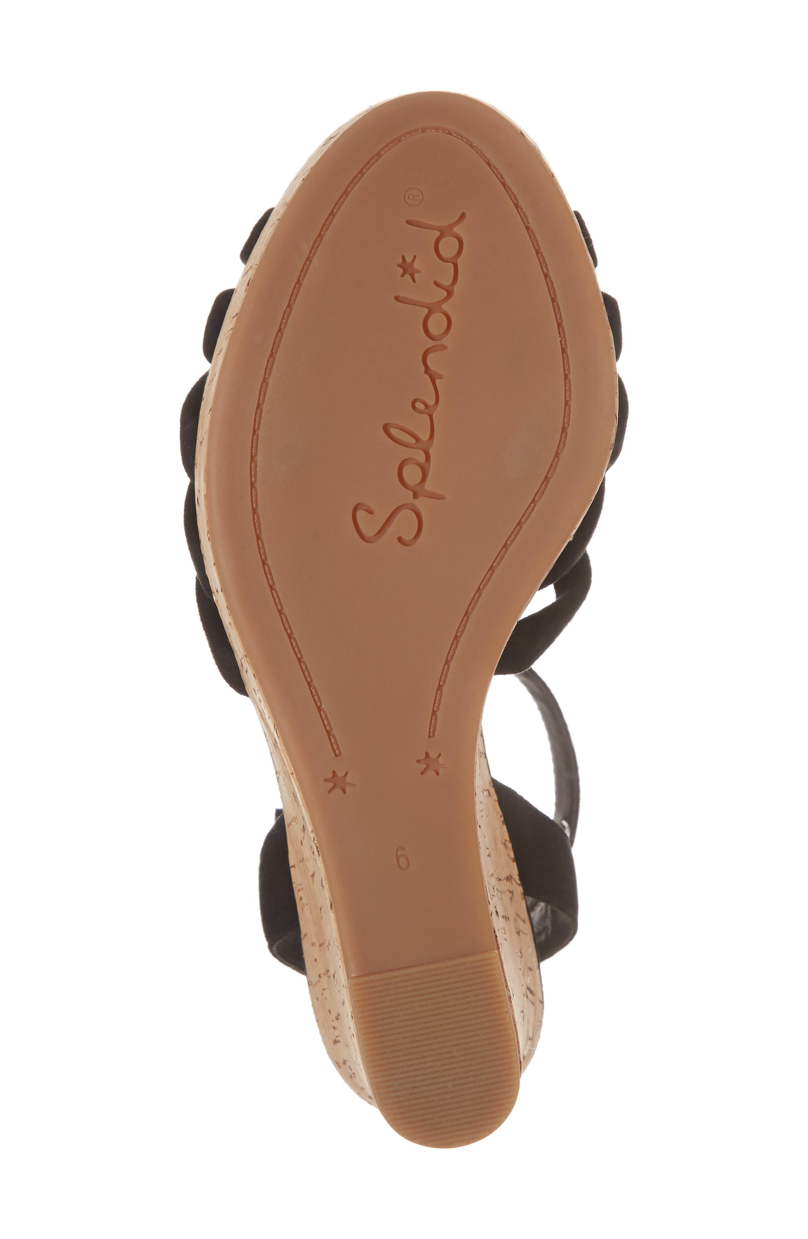 Fallon Wedge Sandal,                             Alternate thumbnail 6, color,                             BLACK SUEDE