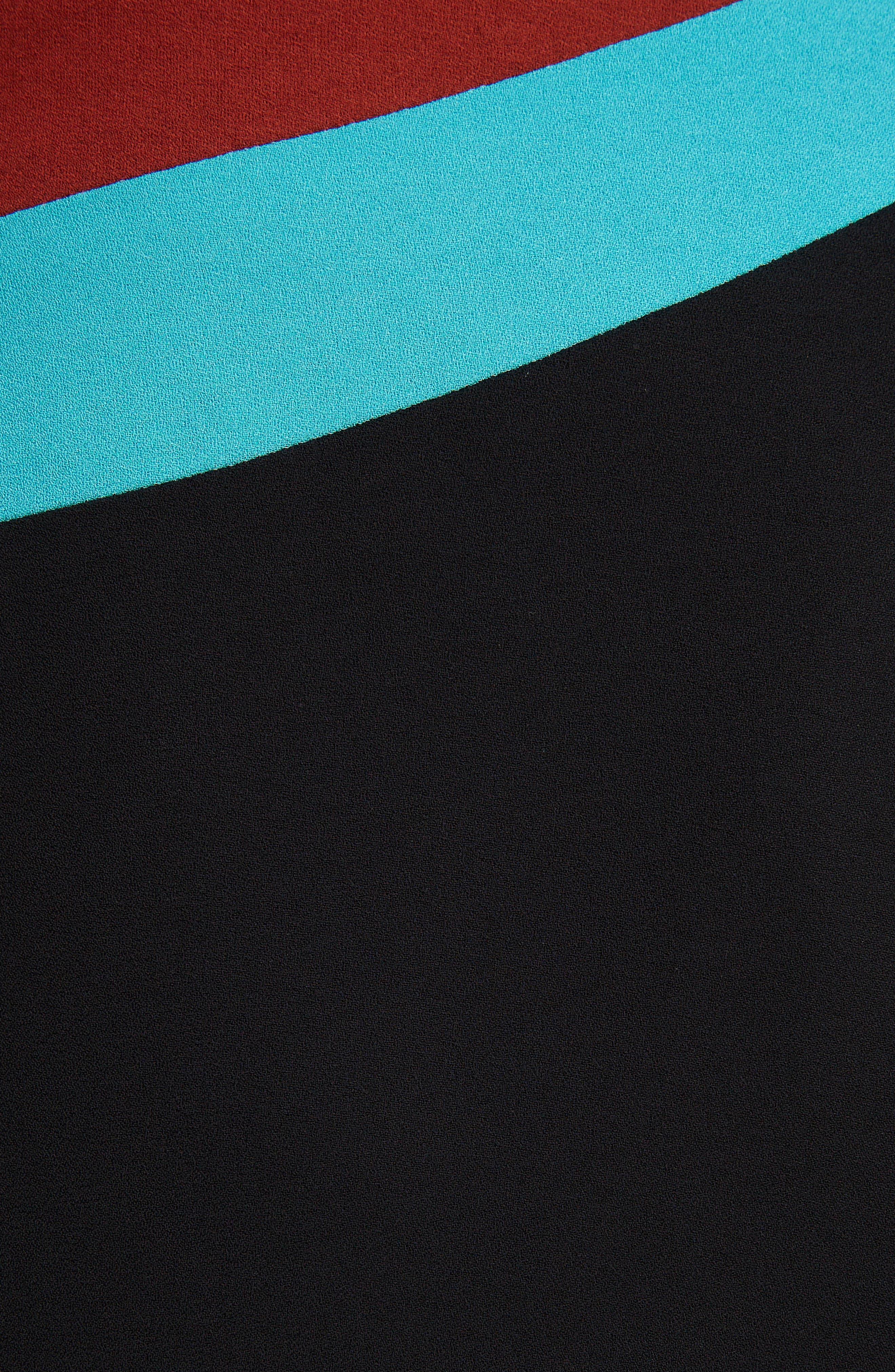 Curved Inset Midi Skirt,                             Alternate thumbnail 5, color,                             BLACK