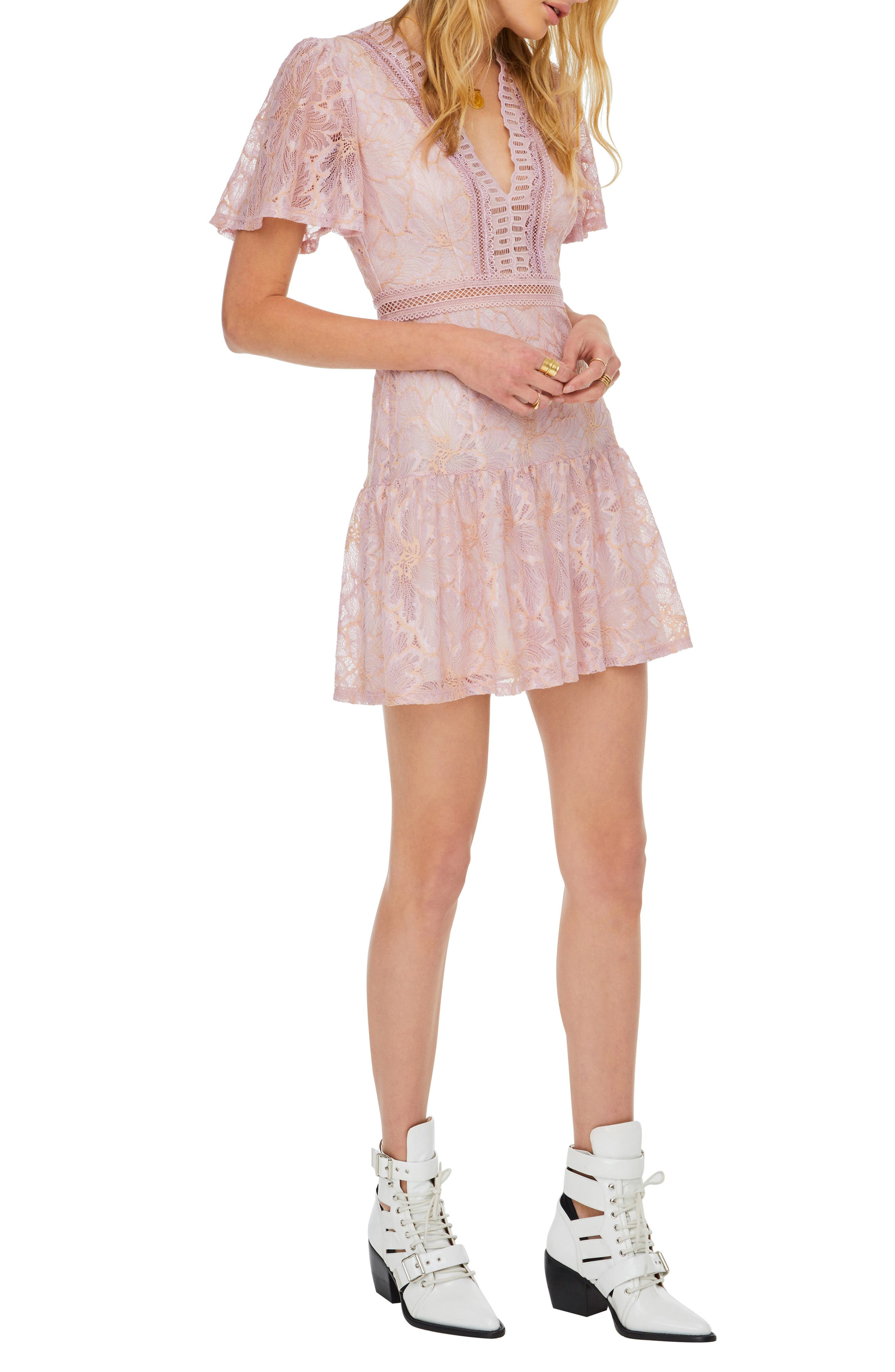 Muse Lace Skater Dress,                             Alternate thumbnail 3, color,                             ICY PINK