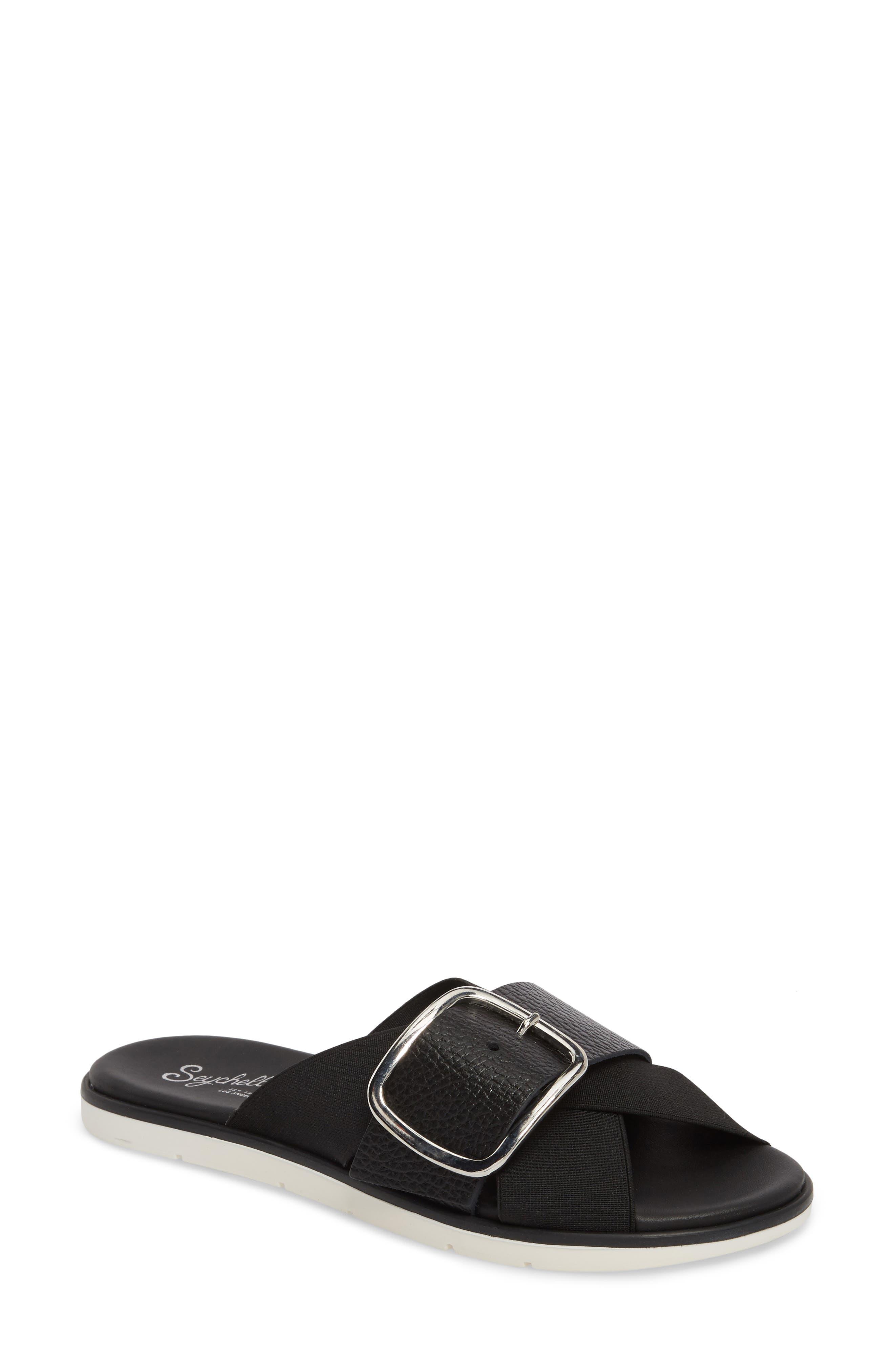 Reservation Slide Sandal,                         Main,                         color, BLACK LEATHER