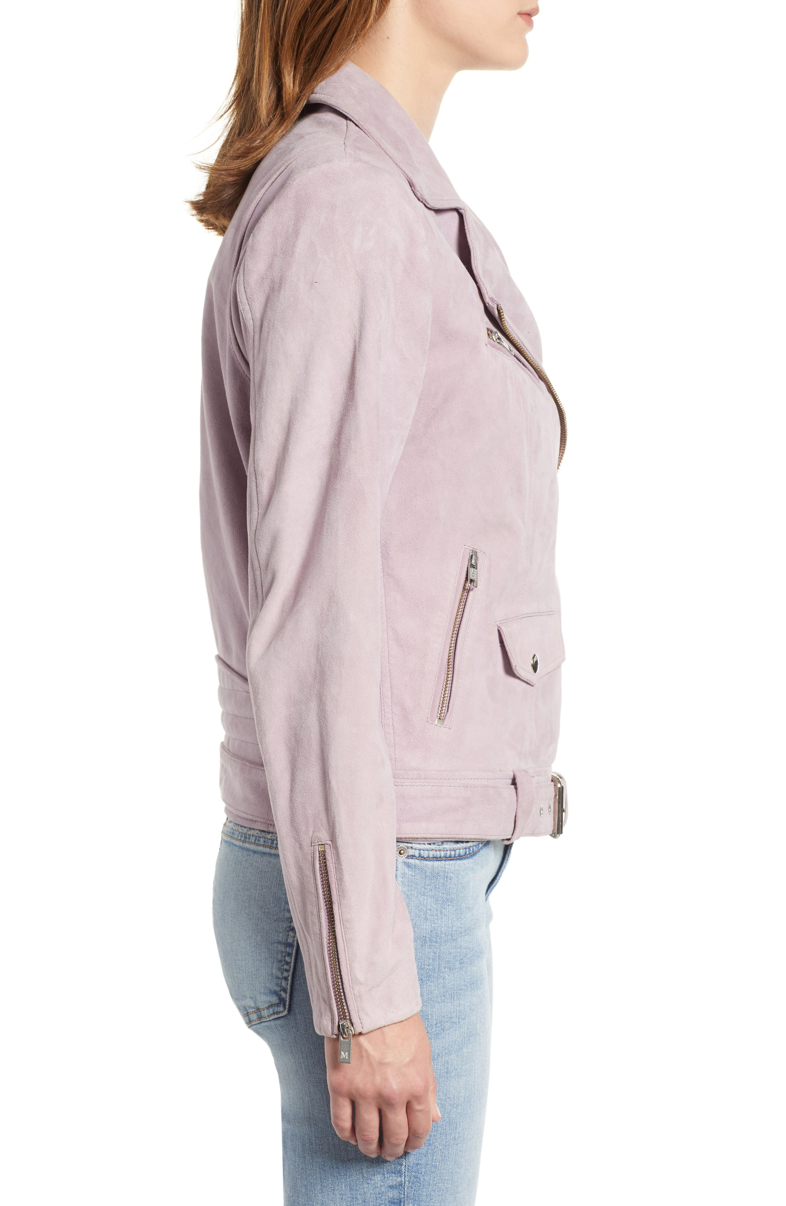 Suede Biker Jacket,                             Alternate thumbnail 3, color,                             500