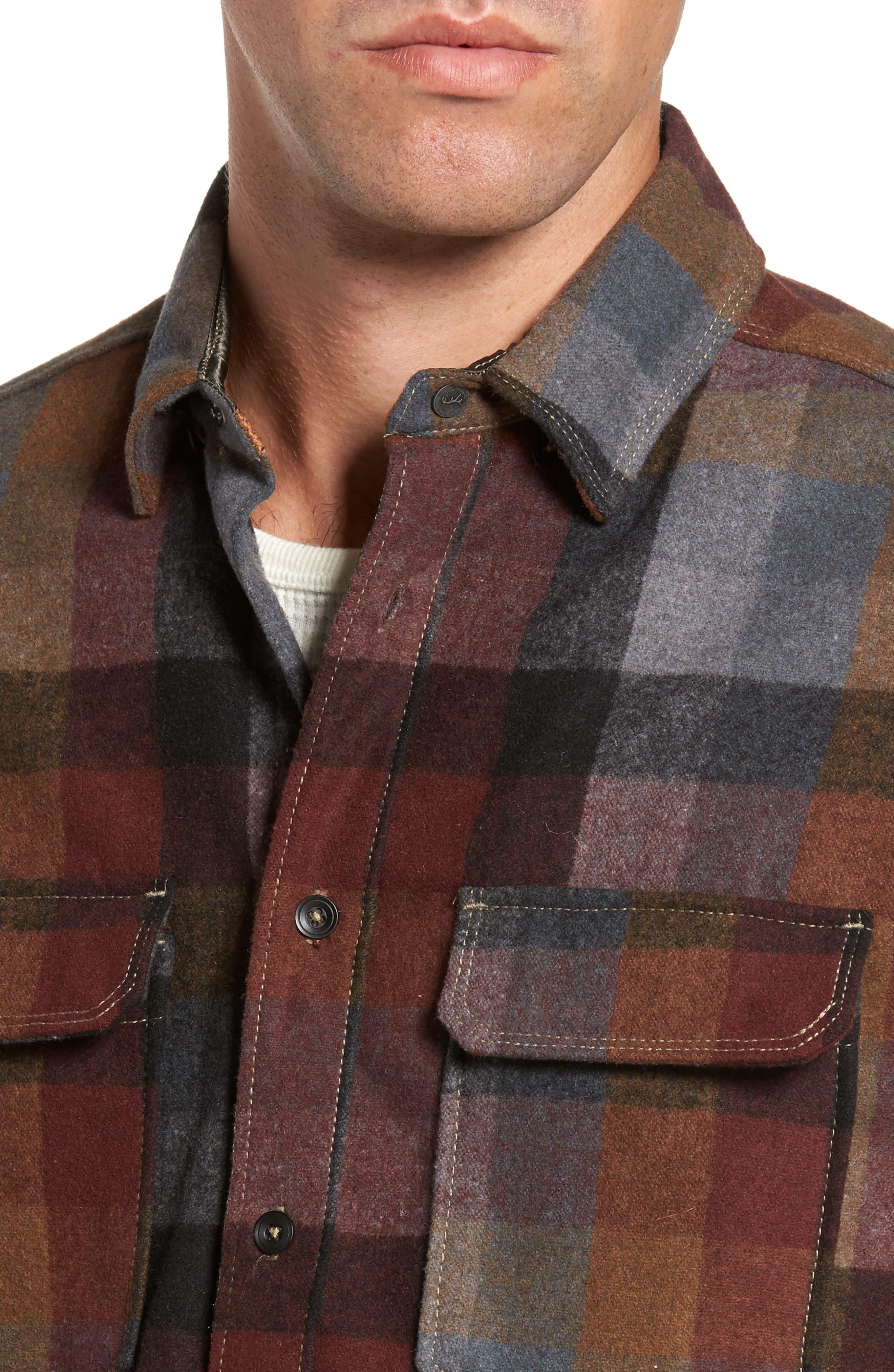 Heath Brushed Flannel Shirt,                             Alternate thumbnail 4, color,                             BURGUNDY