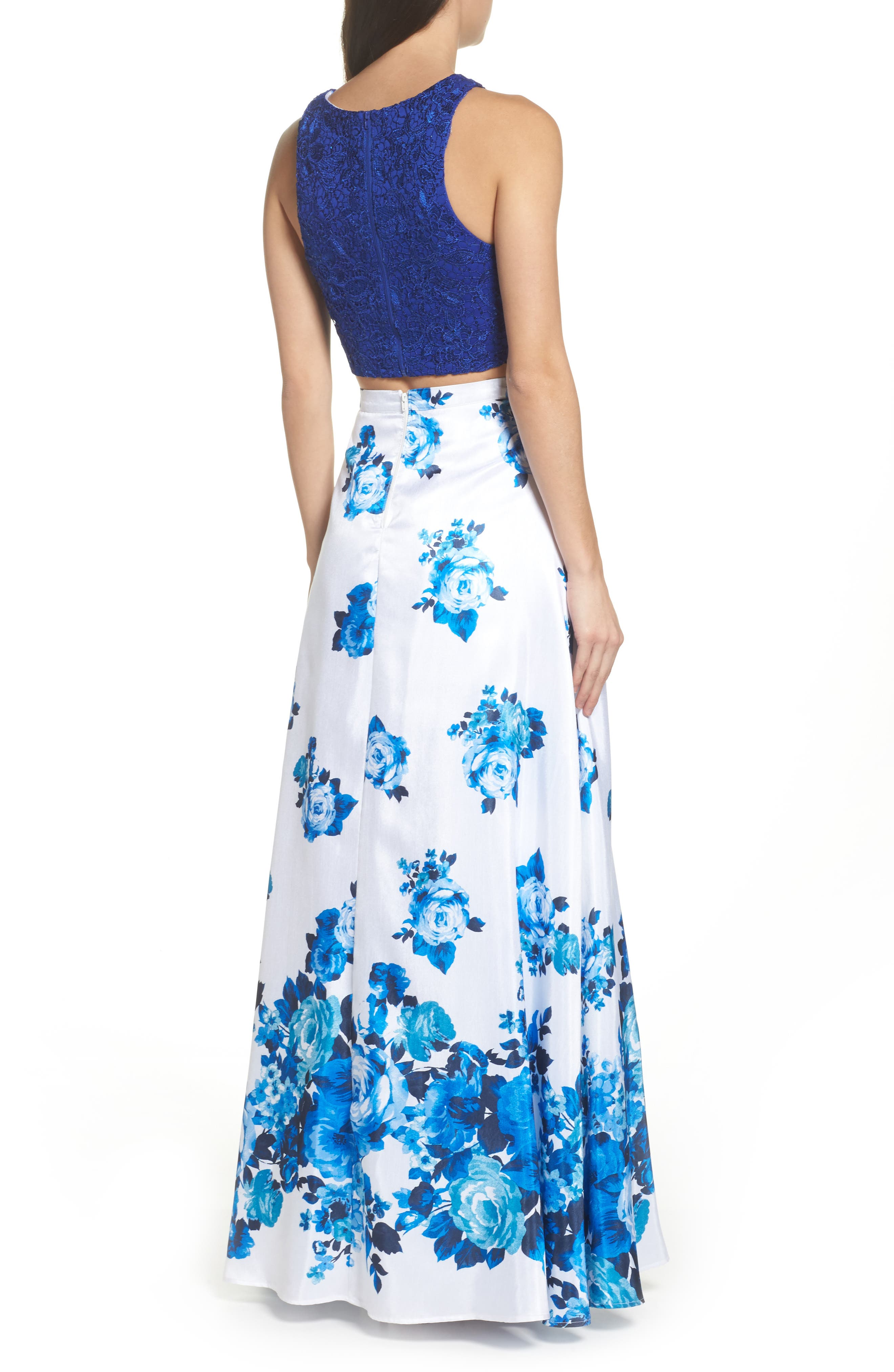 Floral Lace Two-Piece Gown,                             Alternate thumbnail 2, color,