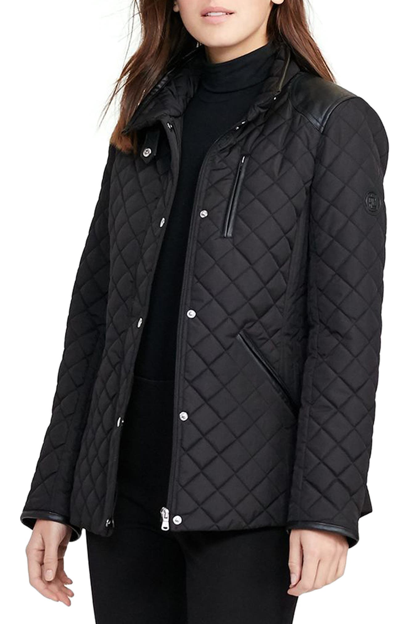 Faux Leather Trim Quilted Jacket,                             Main thumbnail 1, color,                             002