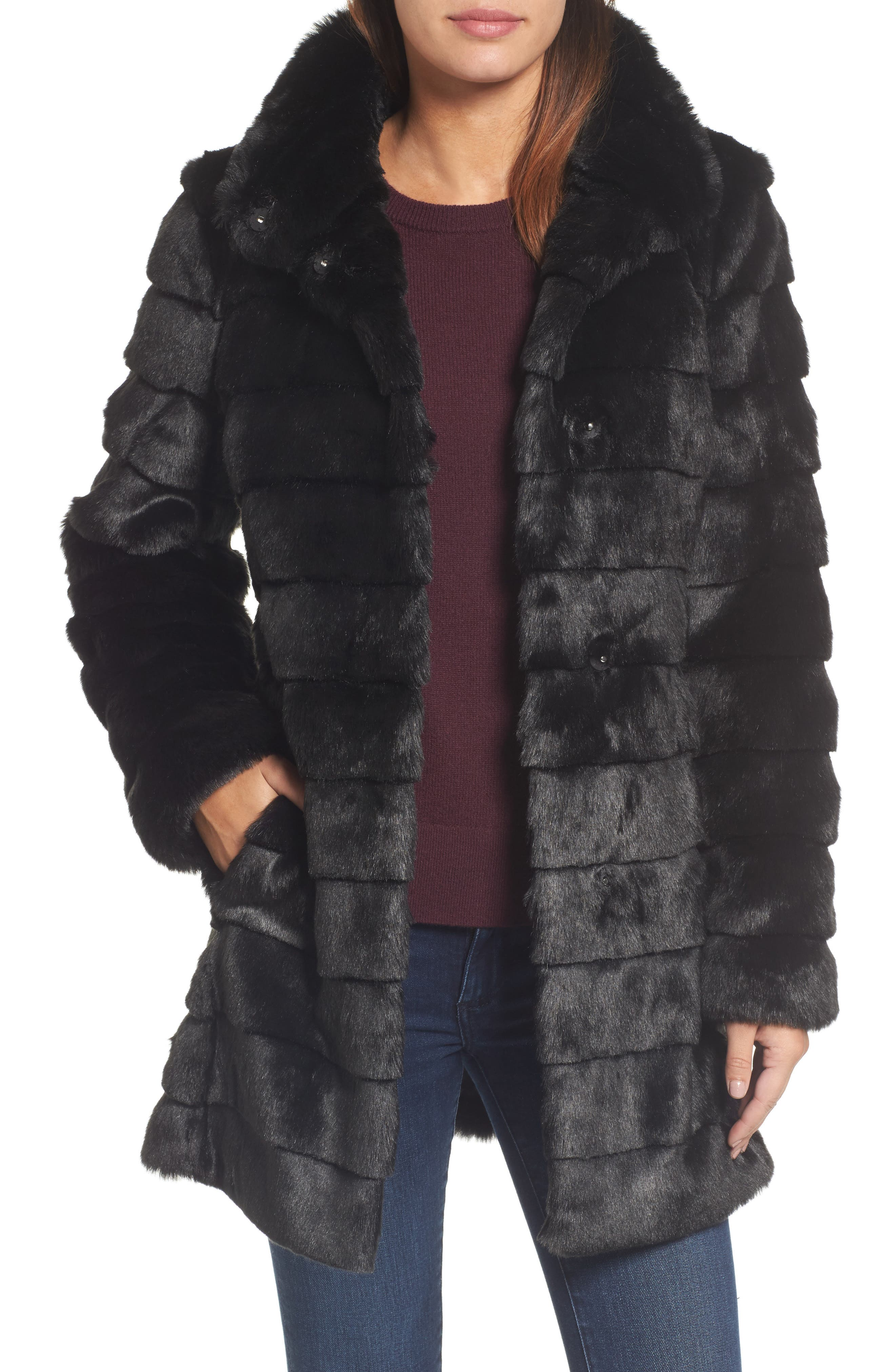 ELIZA J Grooved FauxFur Coat, Main, color, 001