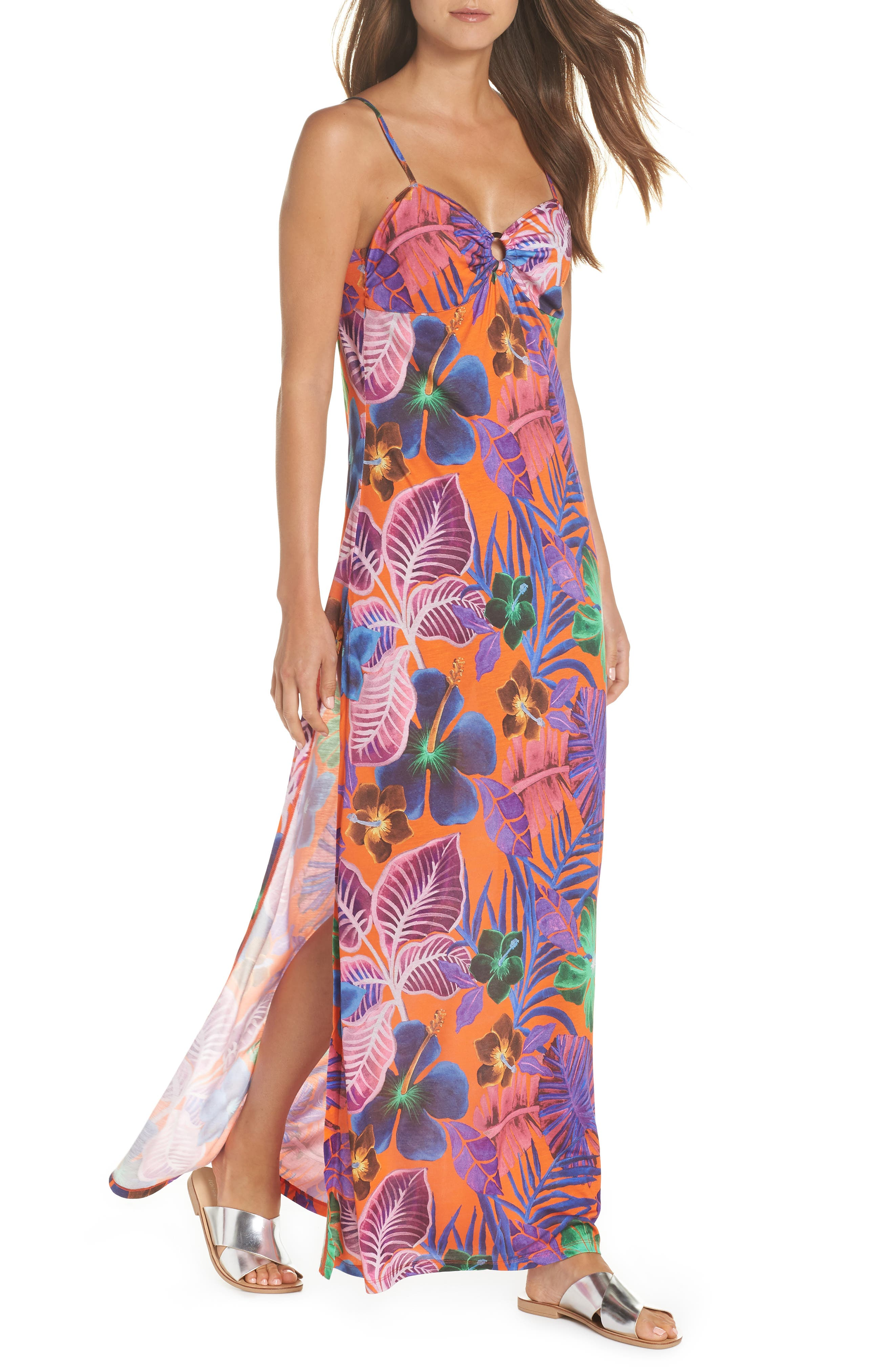 Floral Print Cover-Up Dress, Main, color, CAPUCINE