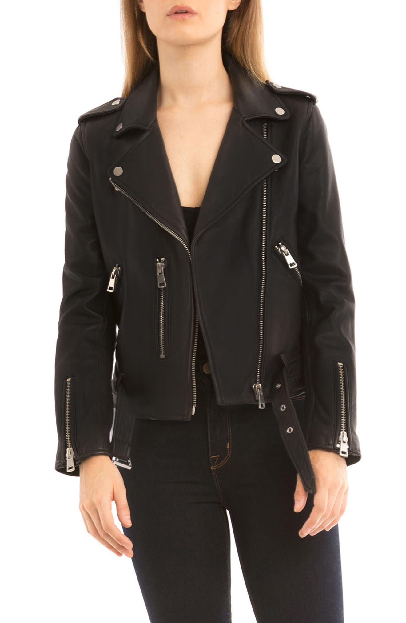 NYC  Washed Leather Biker Jacket,                             Main thumbnail 1, color,                             001