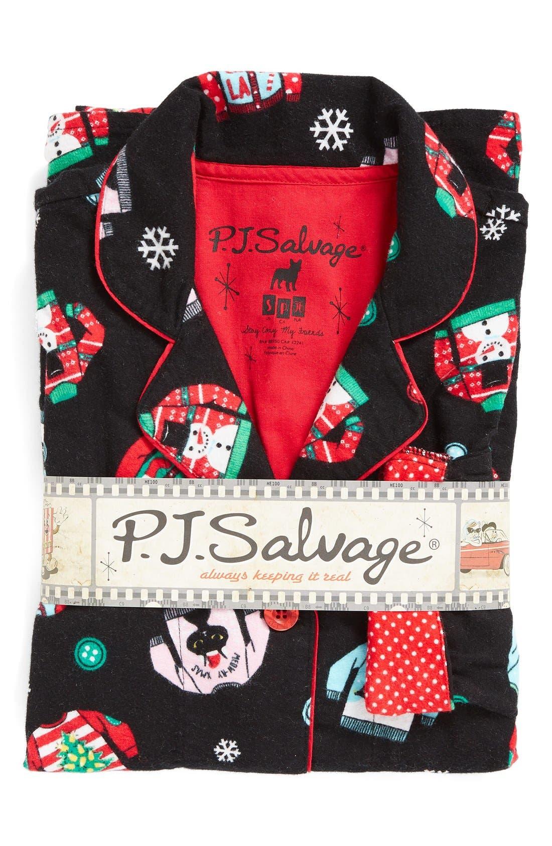 Print Flannel Pajamas,                             Alternate thumbnail 4, color,                             001