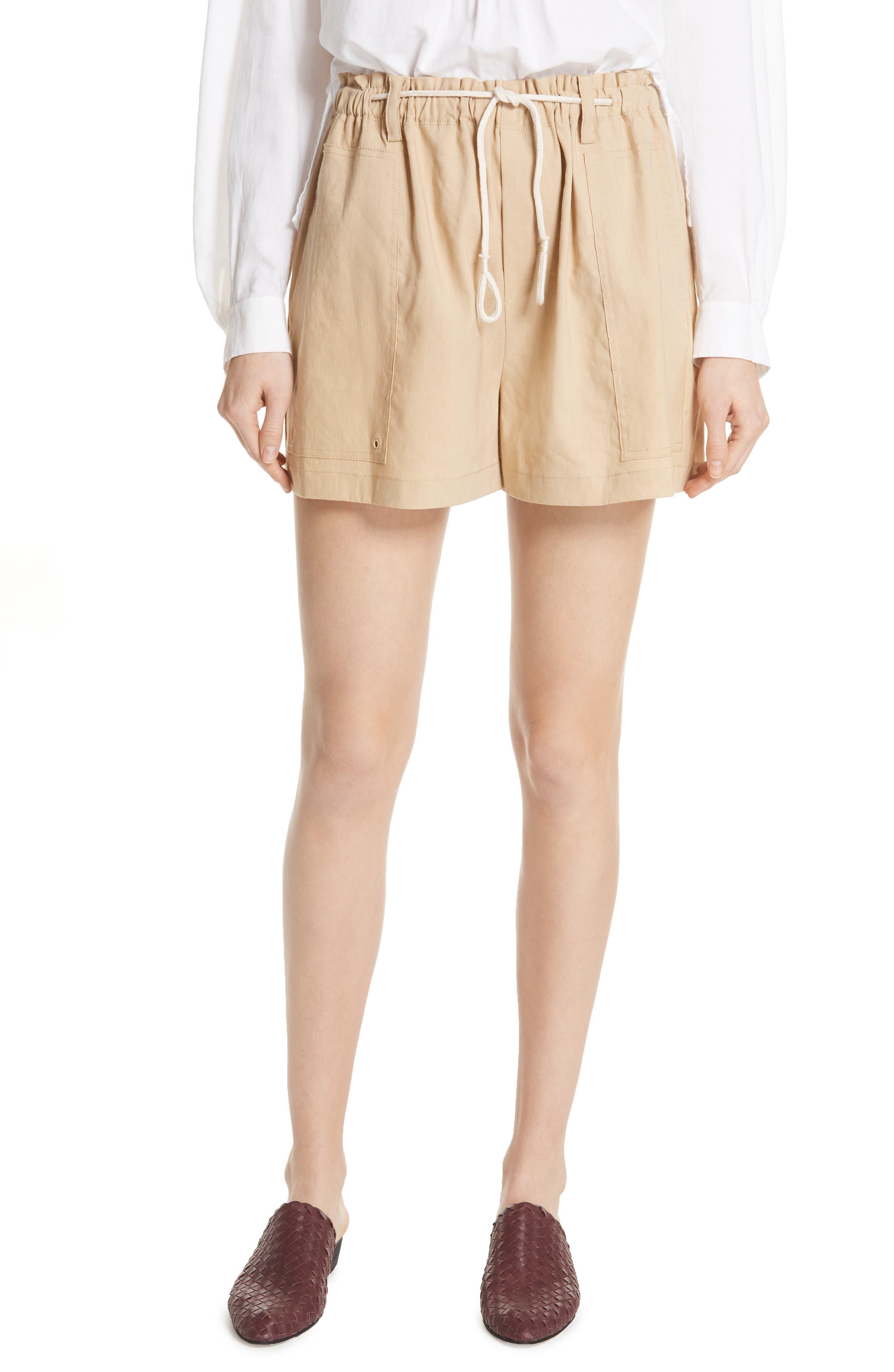 Rope Tie Linen Blend Shorts,                             Main thumbnail 2, color,