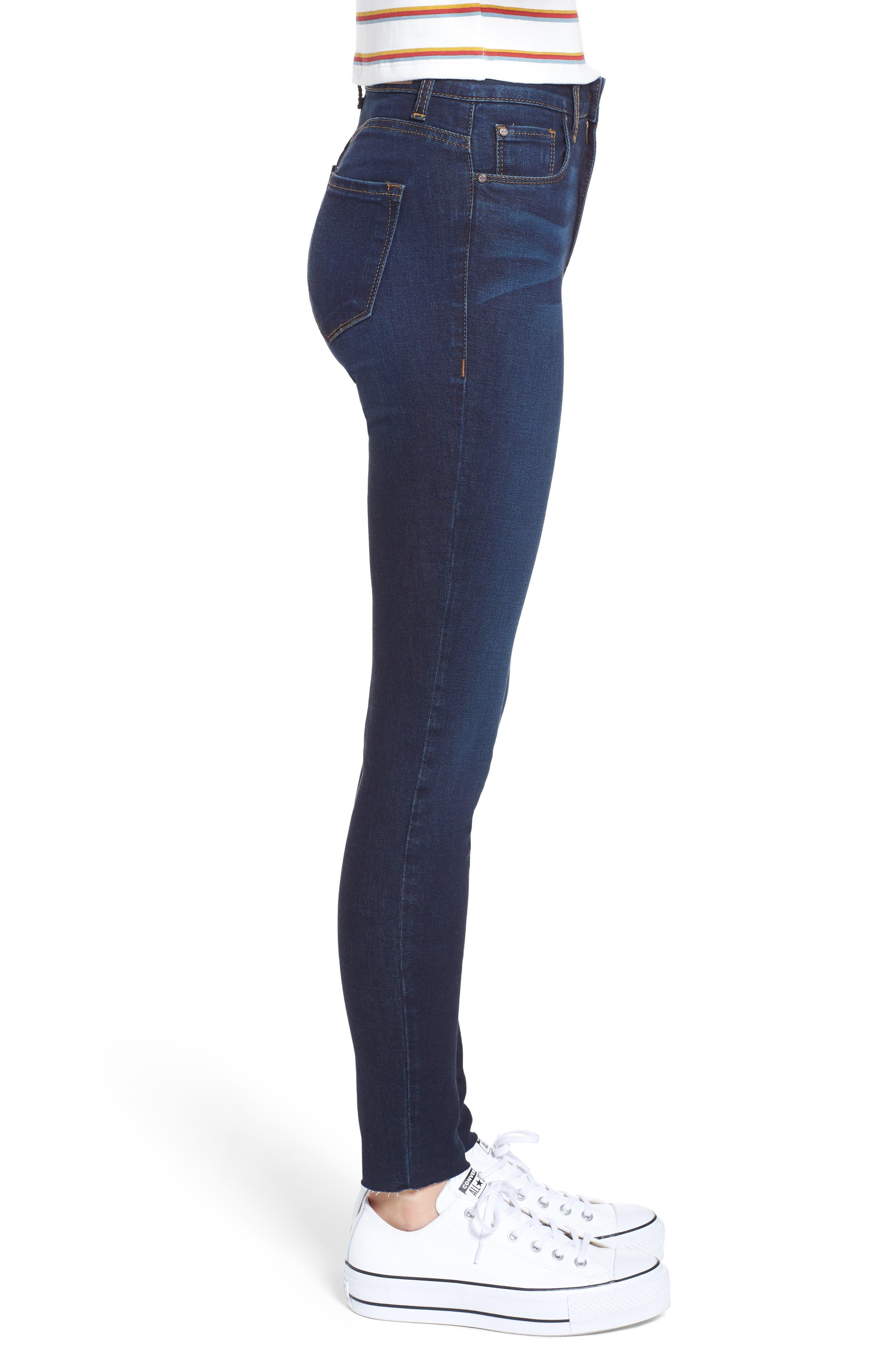 High Waist Cutoff Skinny Jeans,                             Alternate thumbnail 3, color,                             400