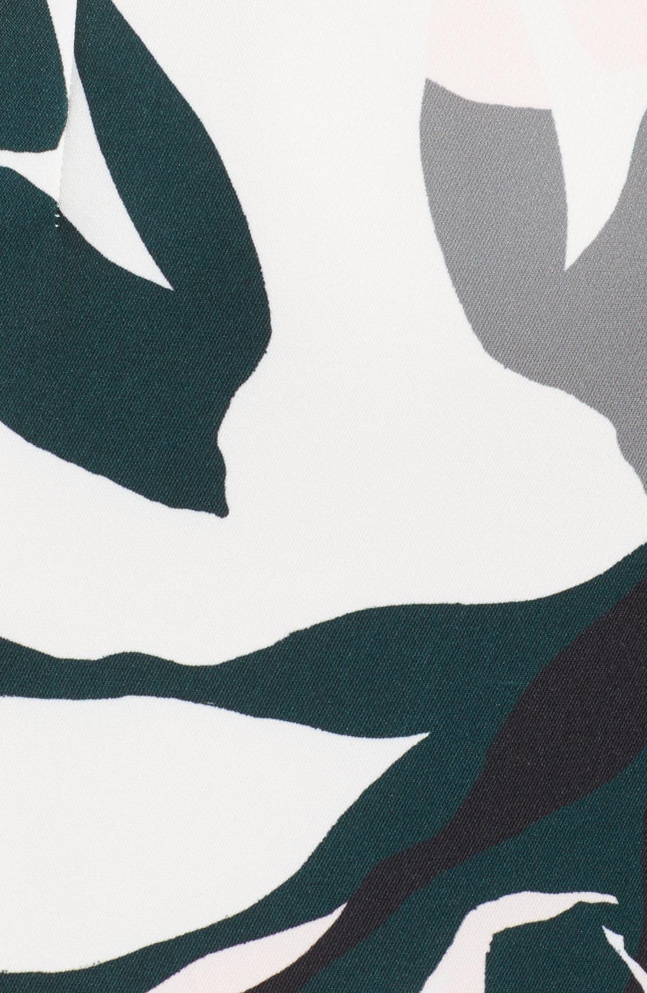 Leaf Dancer Ruffle Hem Dress,                             Alternate thumbnail 5, color,                             100