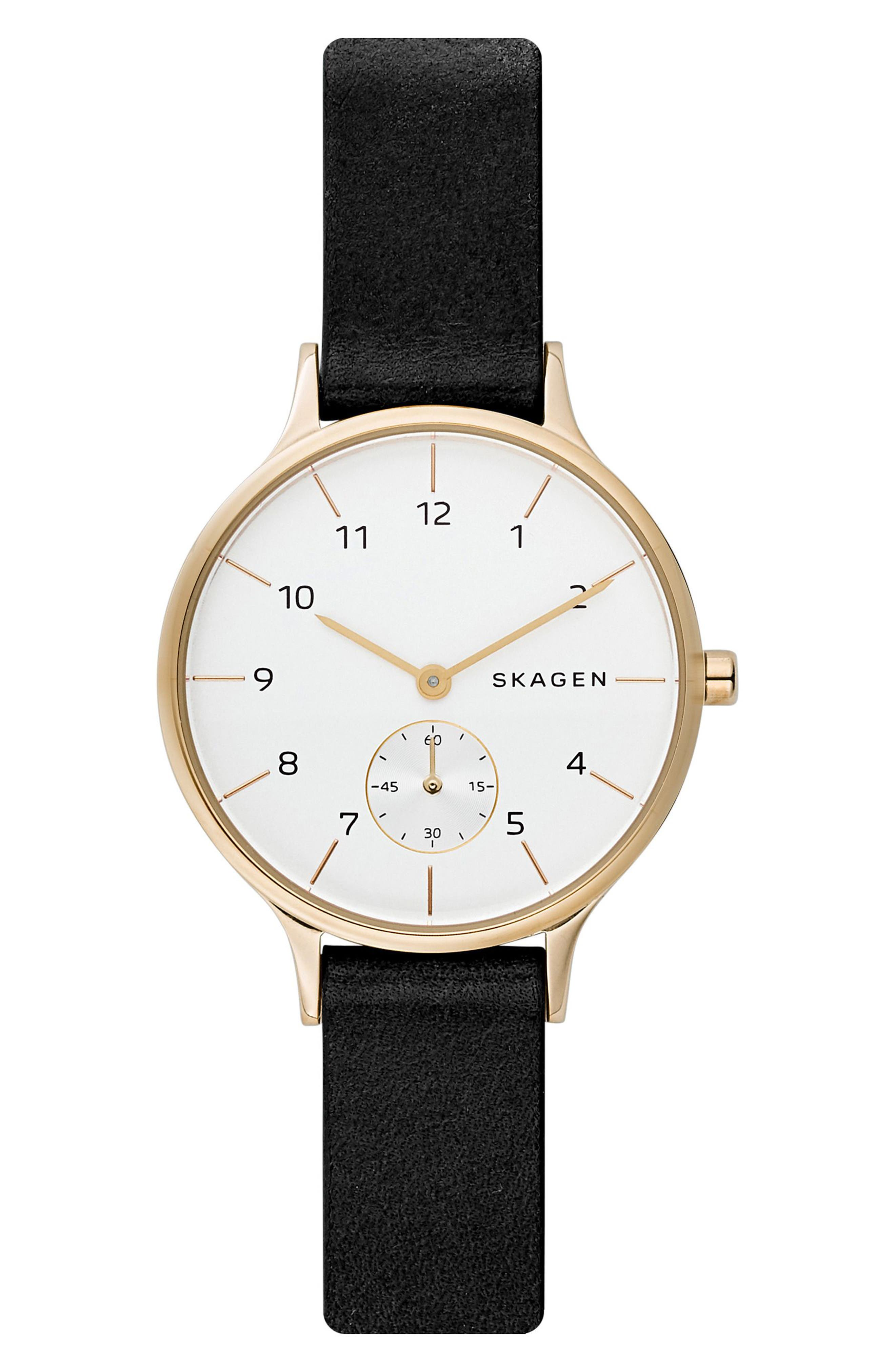 SKAGEN,                             Anita Leather Strap Watch, 34mm,                             Main thumbnail 1, color,                             001