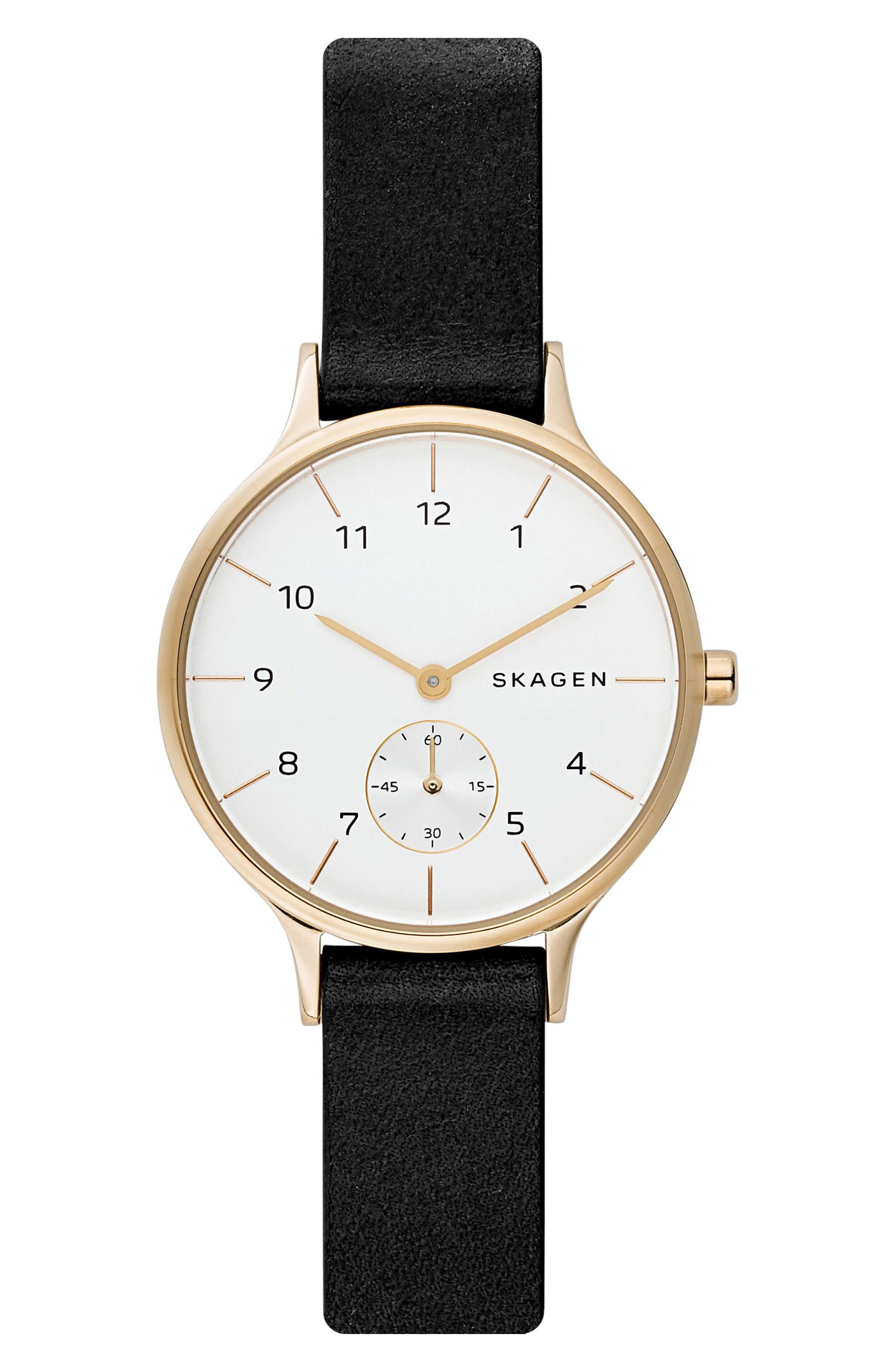 SKAGEN Anita Leather Strap Watch, 34mm, Main, color, 001
