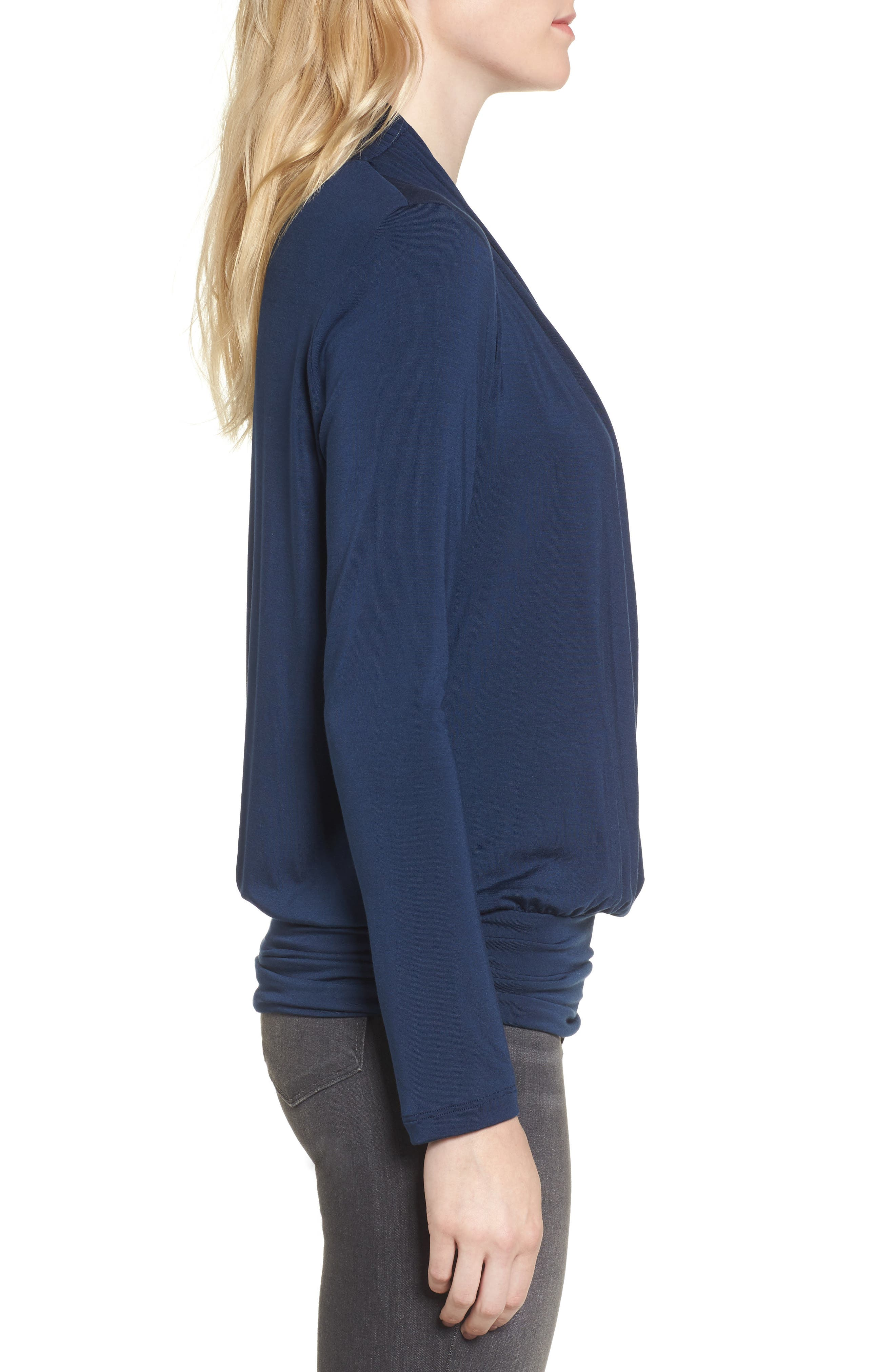 'Angela' Long Sleeve Wrap Front Top,                             Alternate thumbnail 3, color,                             450