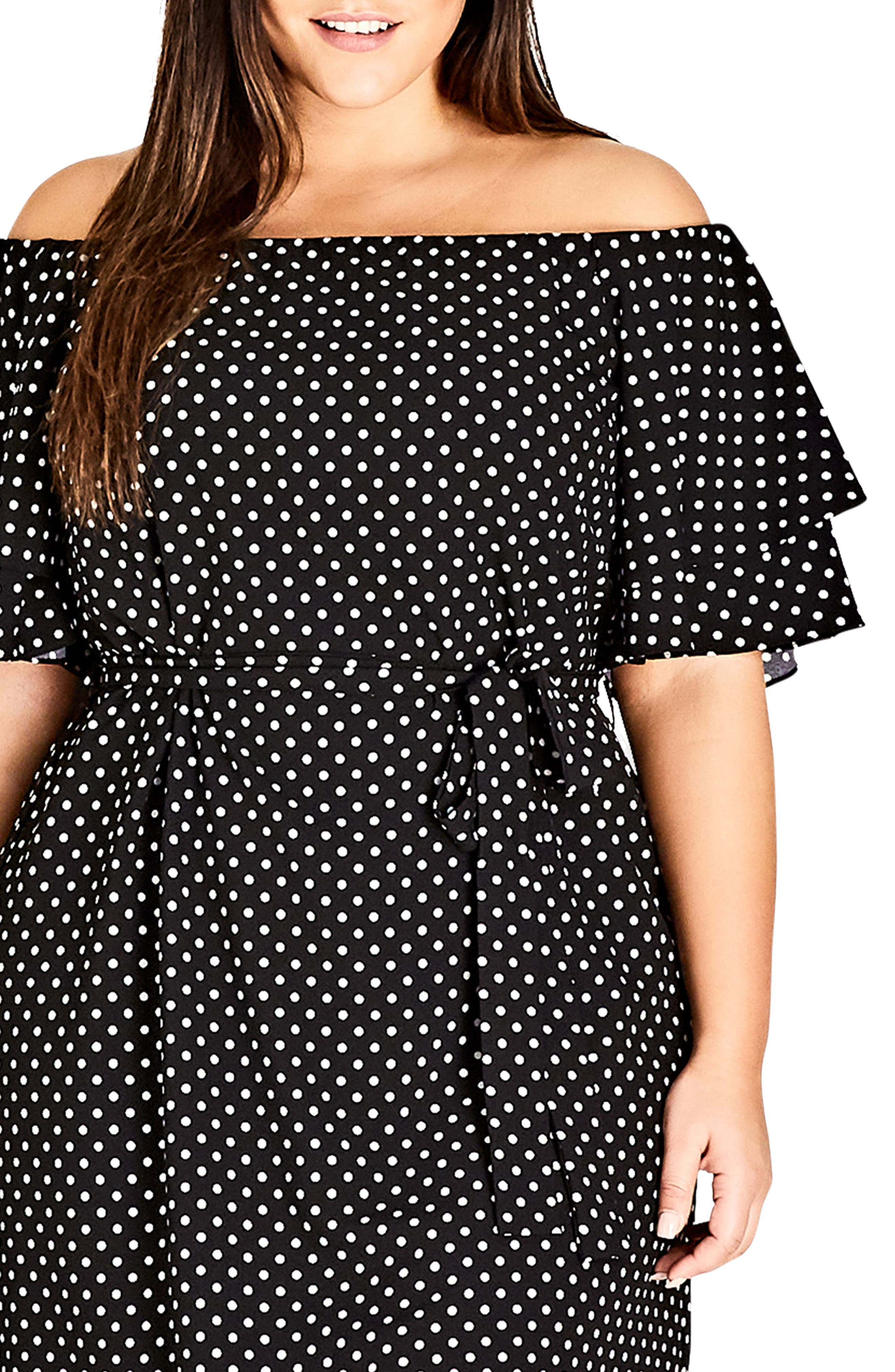 Flutter Sleeve Print Off the Shoulder Dress,                             Alternate thumbnail 3, color,                             SPOT