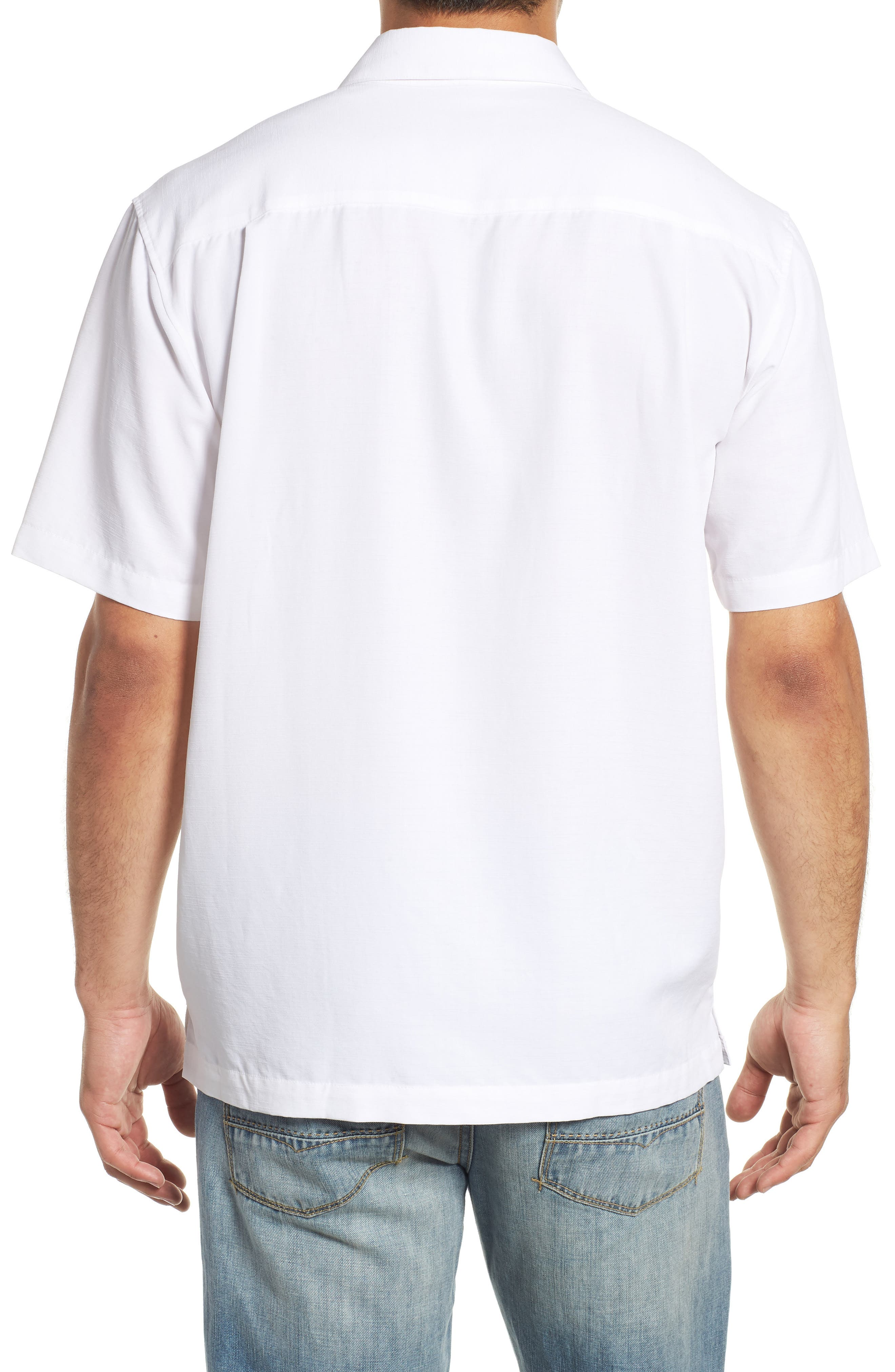 QUIKSILVER WATERMAN COLLECTION,                             Tahiti Palms Regular Fit Sport Shirt,                             Alternate thumbnail 3, color,                             WHITE