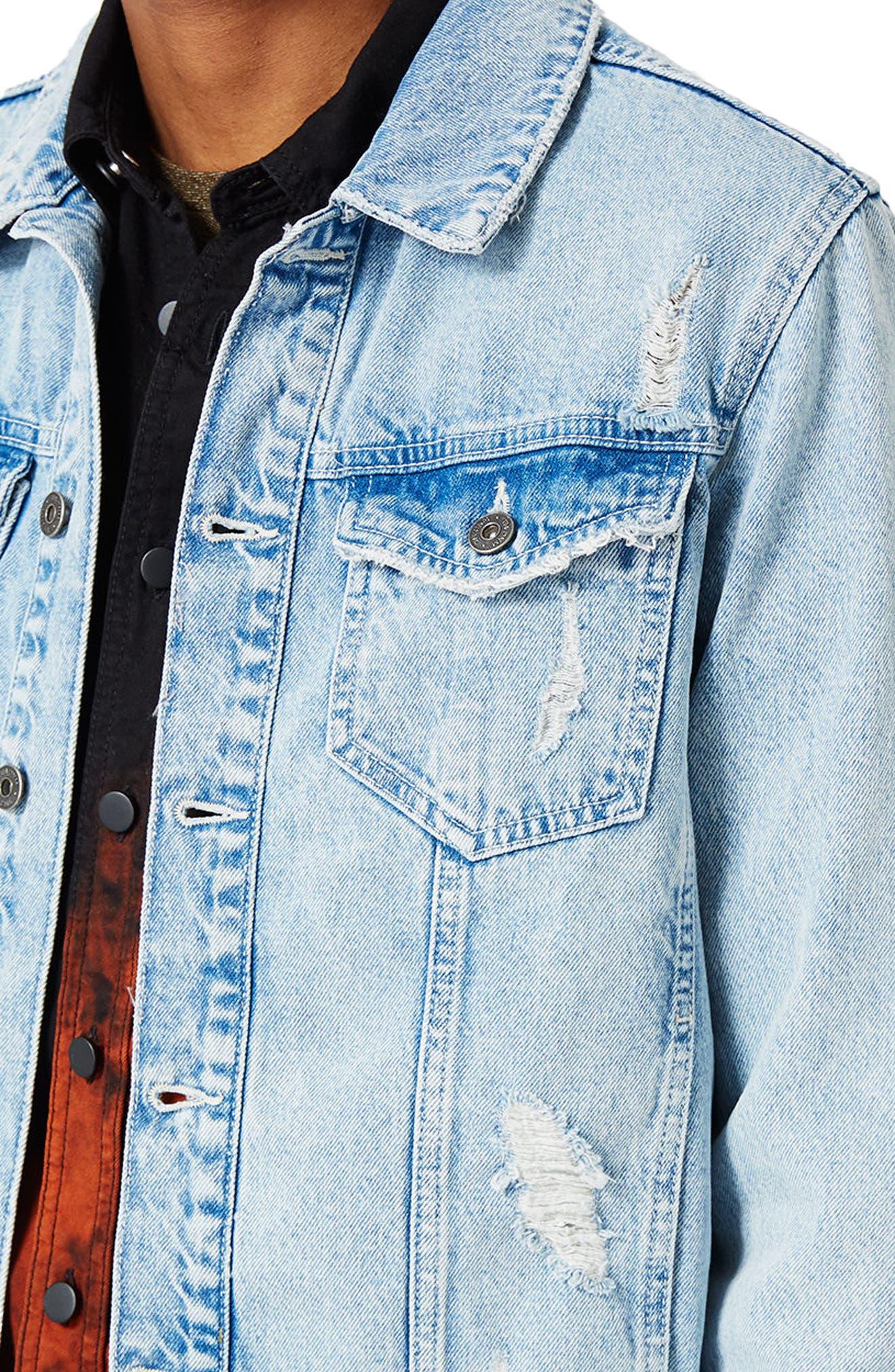 Distressed Denim Jacket,                             Alternate thumbnail 3, color,                             400