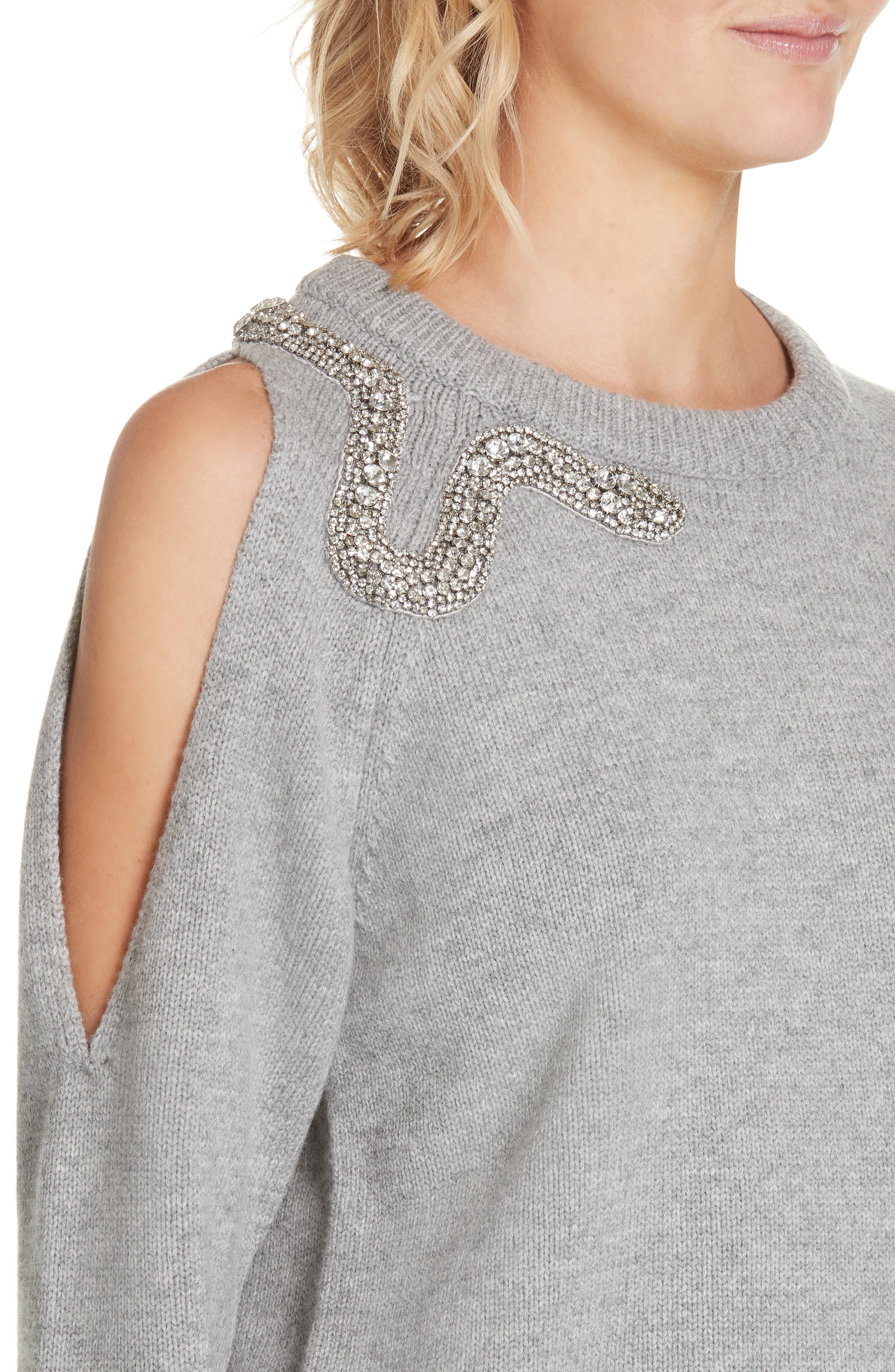 Ossi Embellished Wool Sweater,                             Alternate thumbnail 4, color,                             GRIS